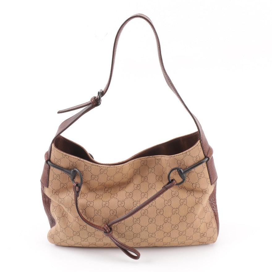 aecf7f2eeb28 Gucci GG Guccissima Canvas Horsebit Shoulder Bag