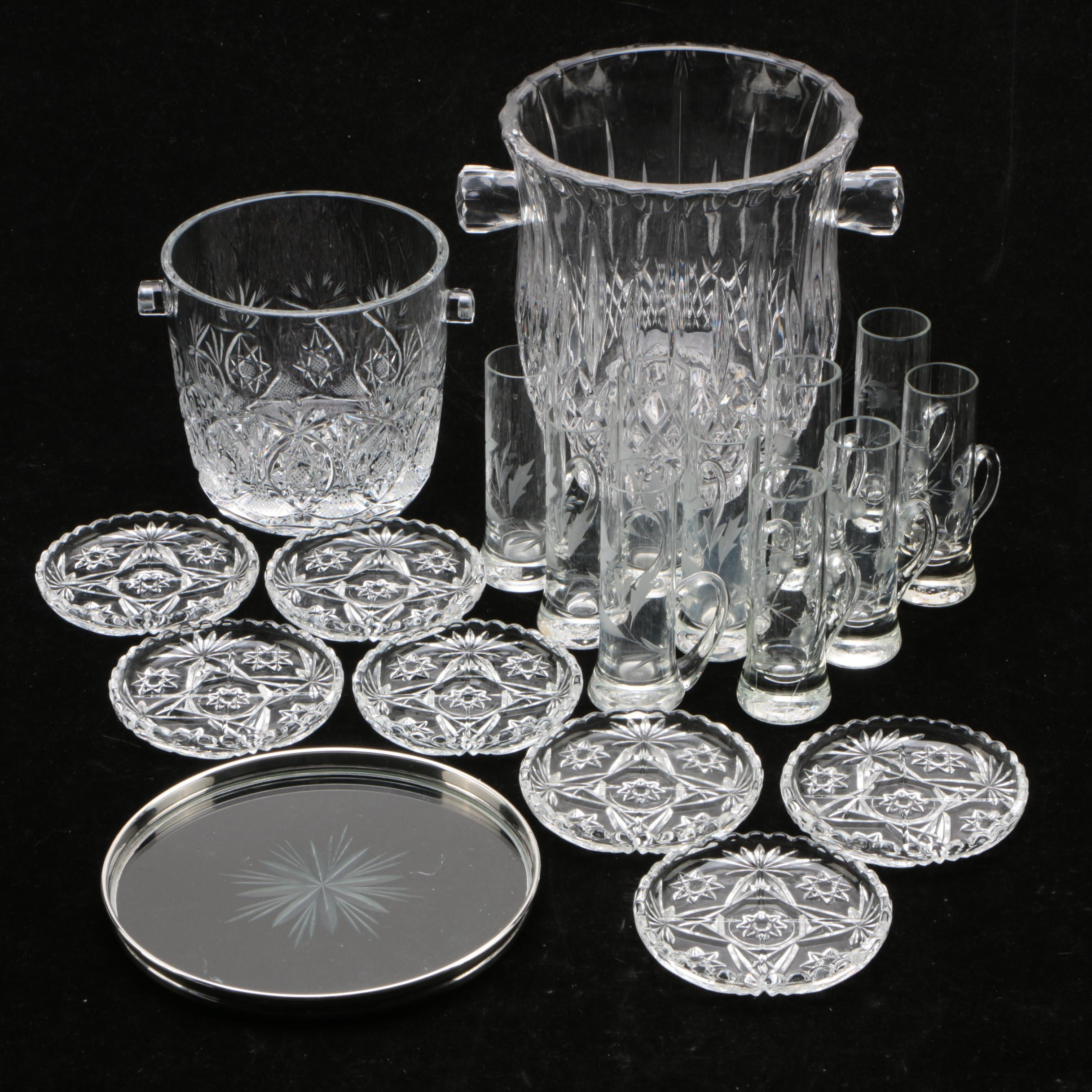 Gorham Sterling Rimmed Bottle Coaster with Cut Crystal and Glass Barware