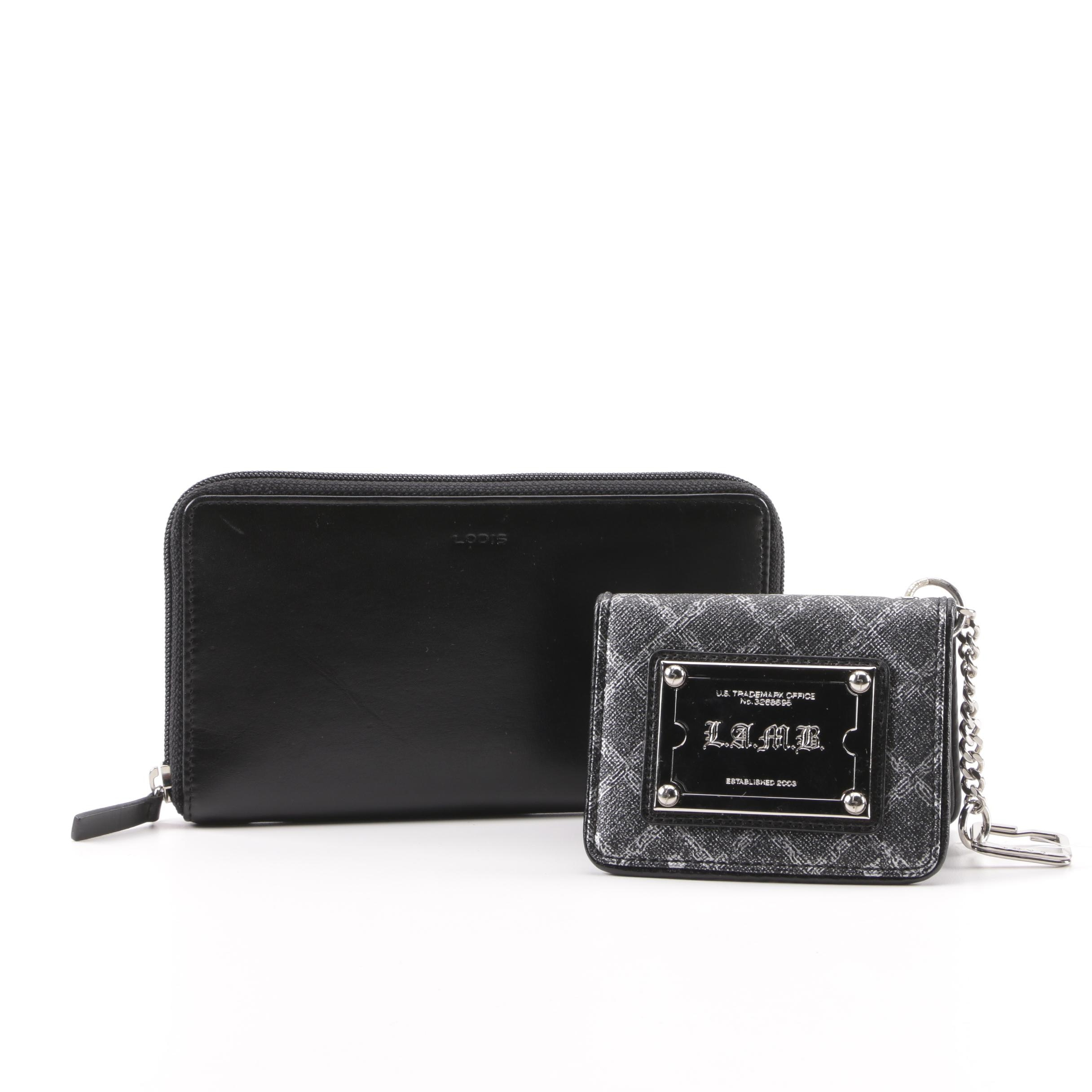 Lodis Black Leather Zipper Wallet and L.A.M.B. Saffiano Leather Keychain Wallet