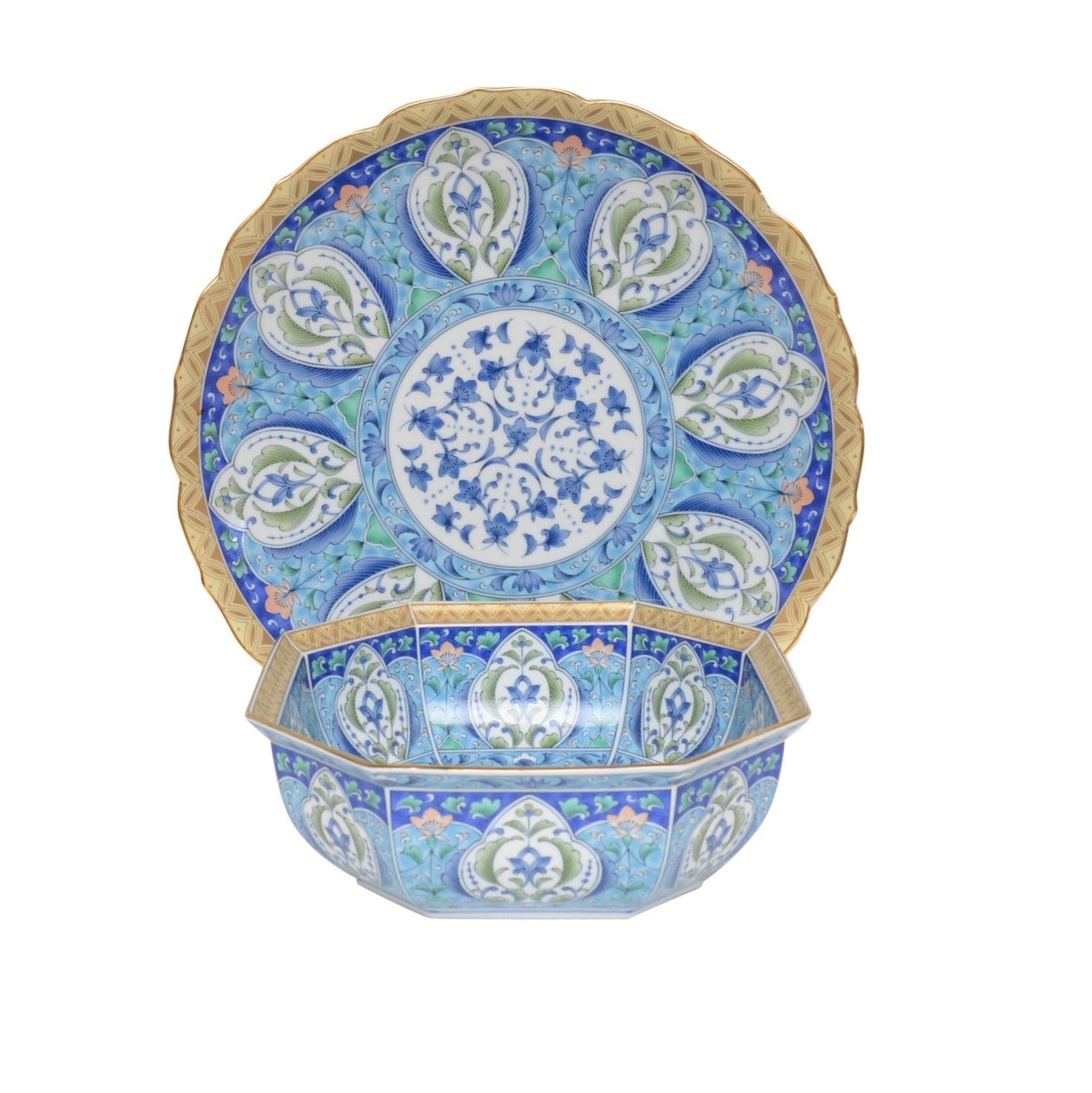 Japanese Painted Bone China Platter and Bowl