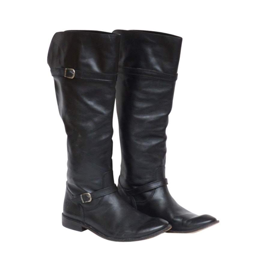 Frye Shirley Black Leather Over-the-Knee Boots