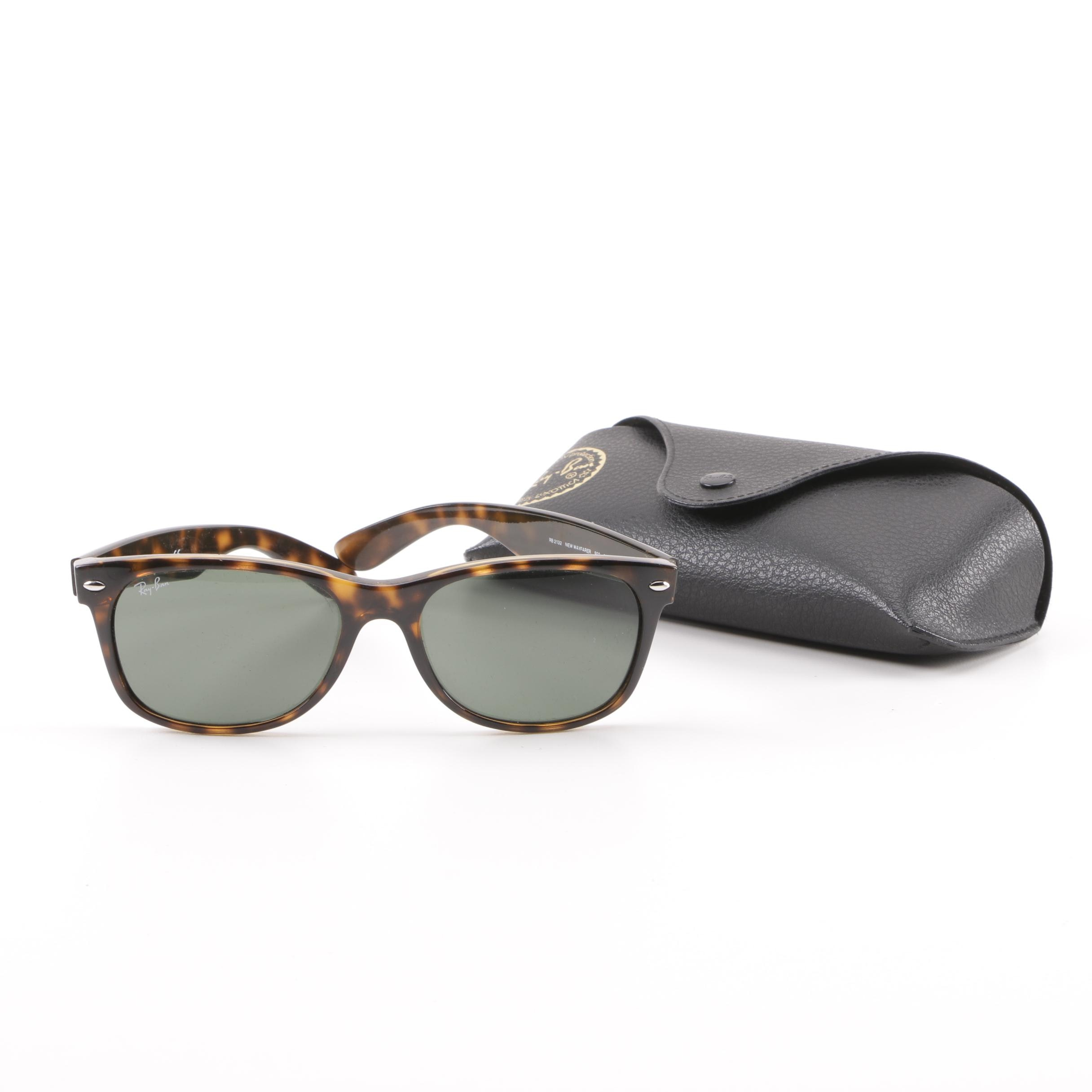 Ray-Ban RB 2132 New Wayfarer Tortoiseshell-Style Sunglasses with Case