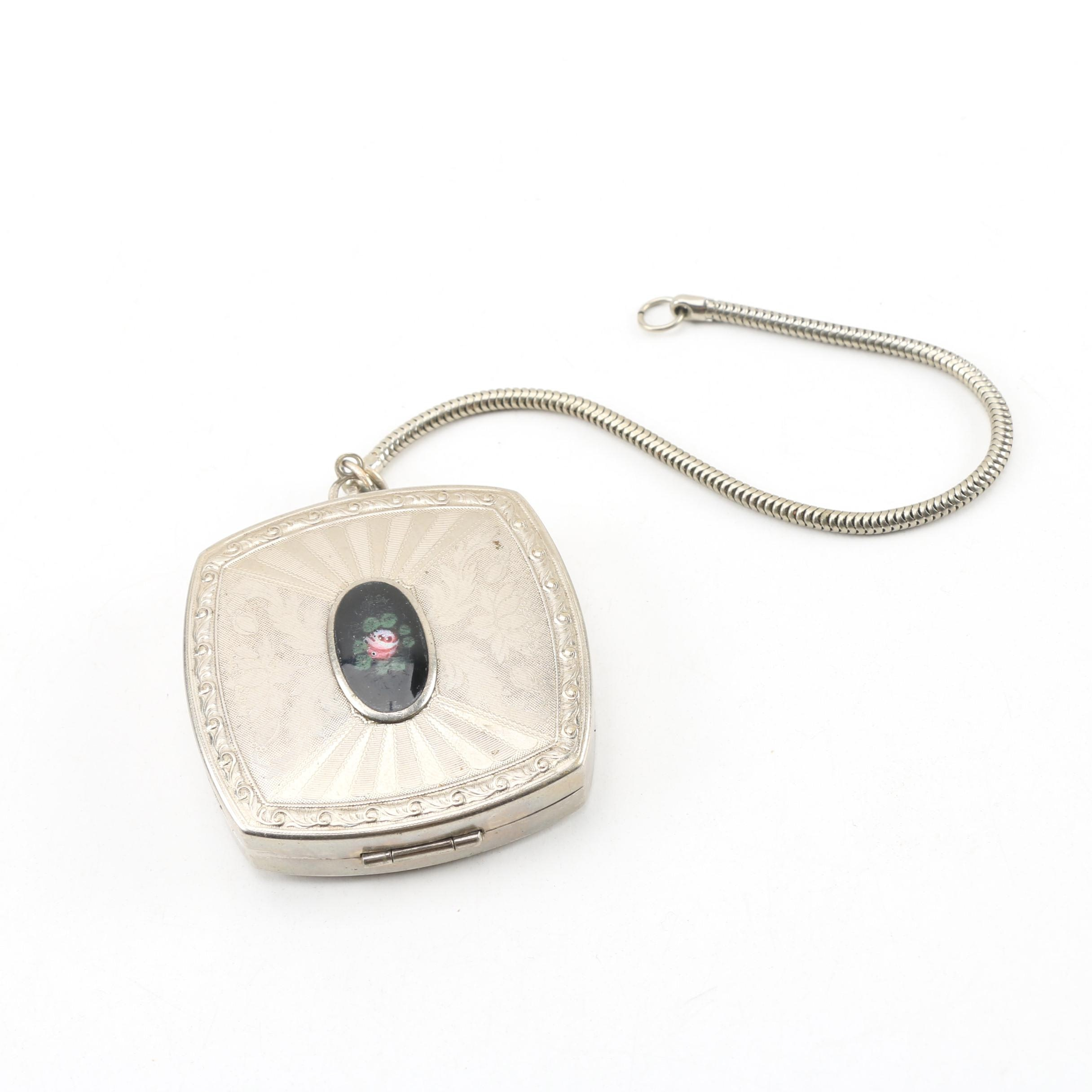 Silver Plate Makeup Compact on Snake Chain