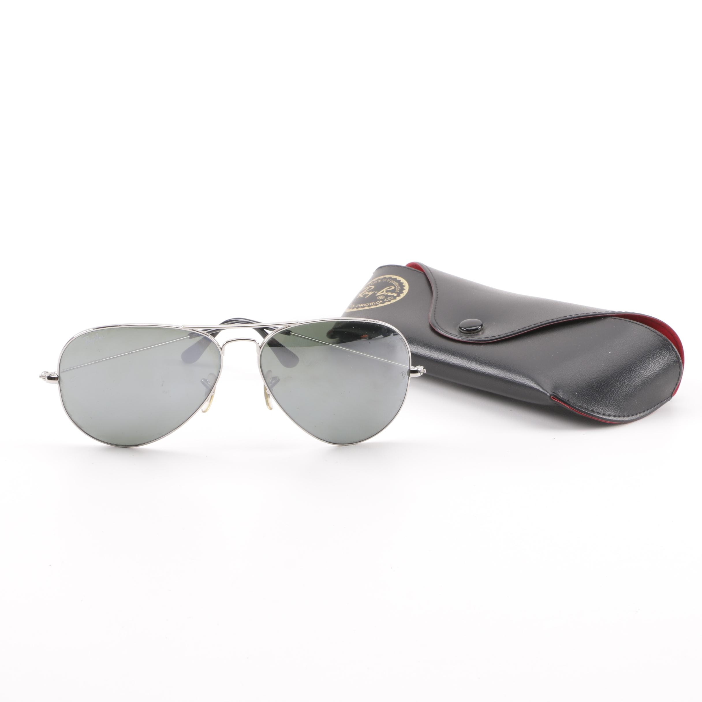 Ray-Ban RB 3025 Aviator L Mirrored Sunglasses with Case