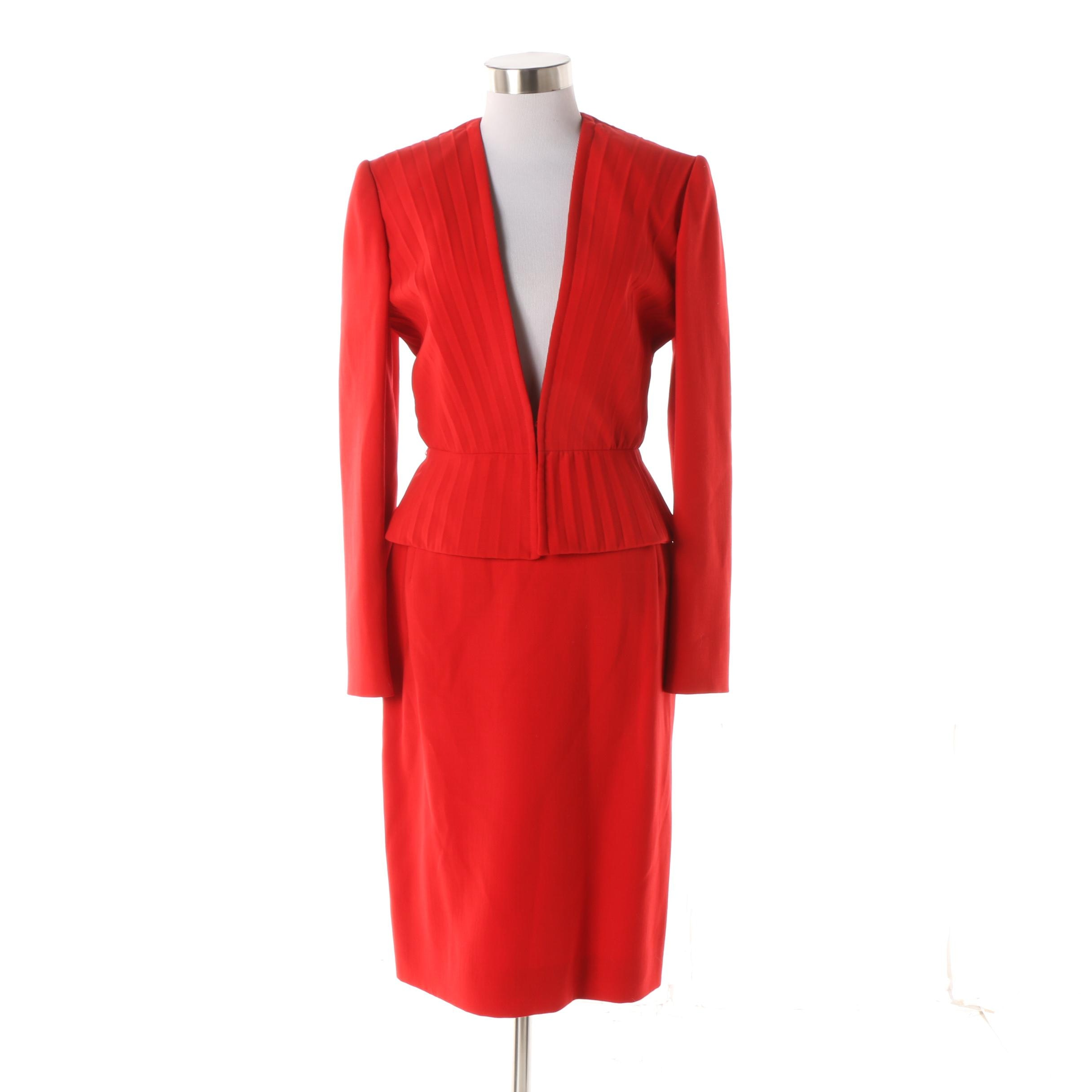 Women's Circa 2000 Valentino Red Plunging V-Cut Wool Skirt Suit