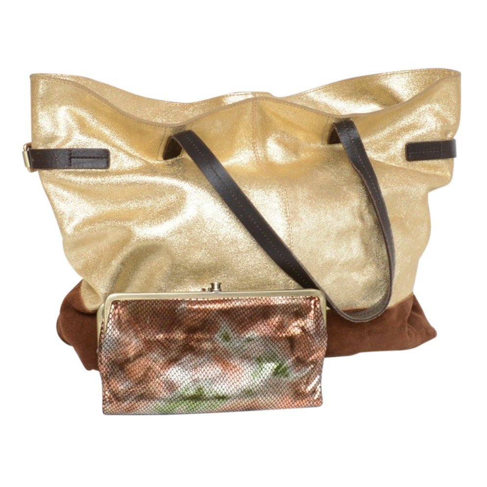 Boden Golden Leather and Suede Tote and HOBO Metallic Snakeskin Print Clutch