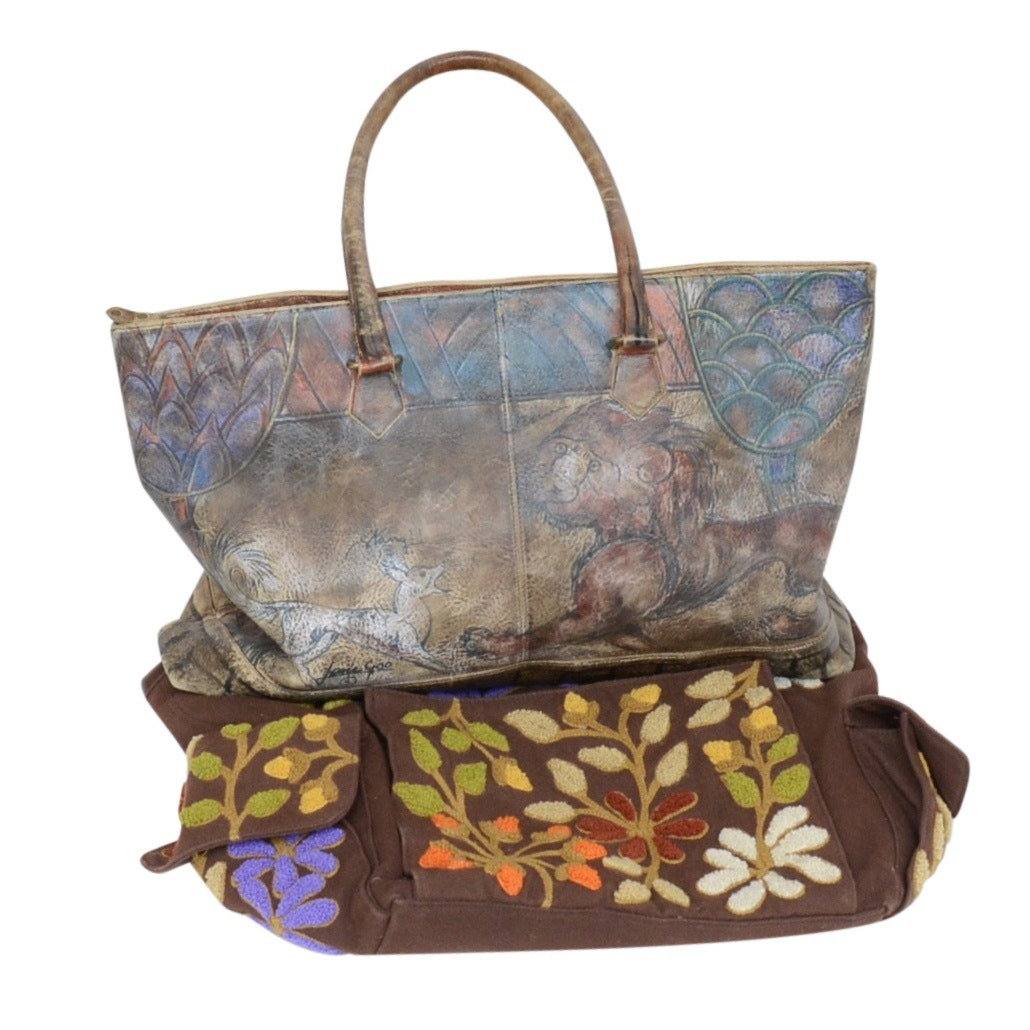 Jane Yoo Hand-Painted Handbag with Indonesian Floral Knit Canvas Bag