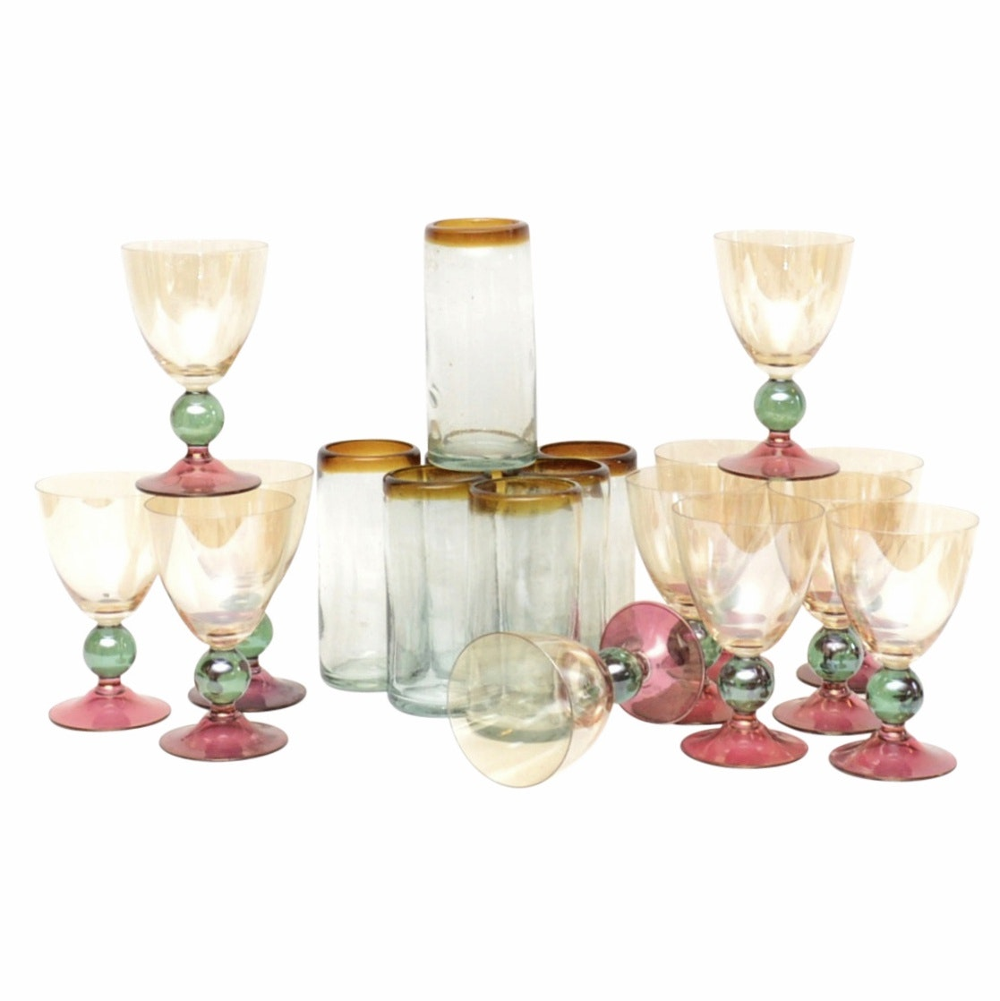 Stemware and Hand-Blown Highball Glasses in Amber Hues