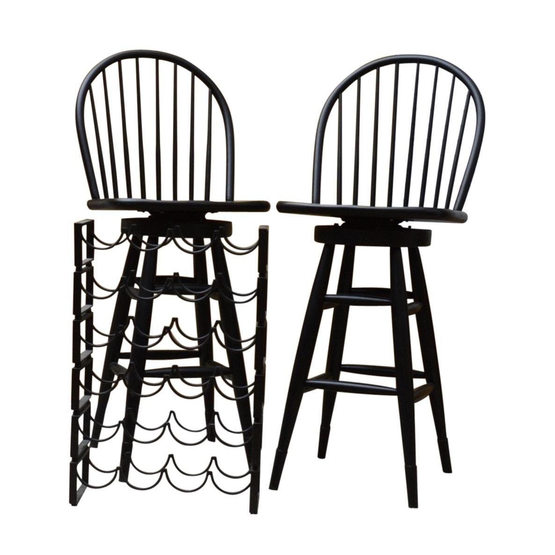 Contemporary Pair of Wood Windsor Swivel Seat Bar Stools and Metal Wine Rack
