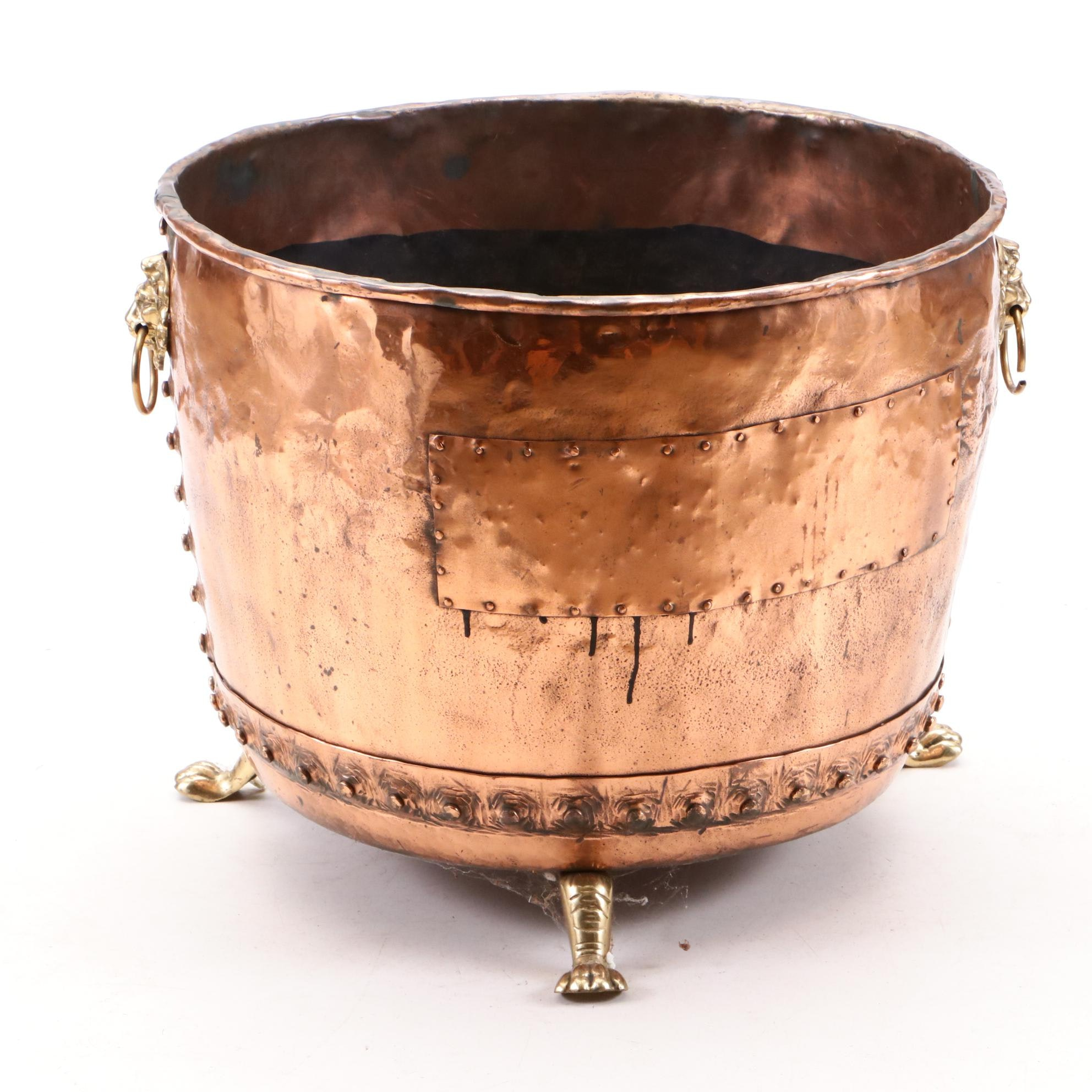 Copper and Brass Footed Cauldron with Lion Head Pull Handles