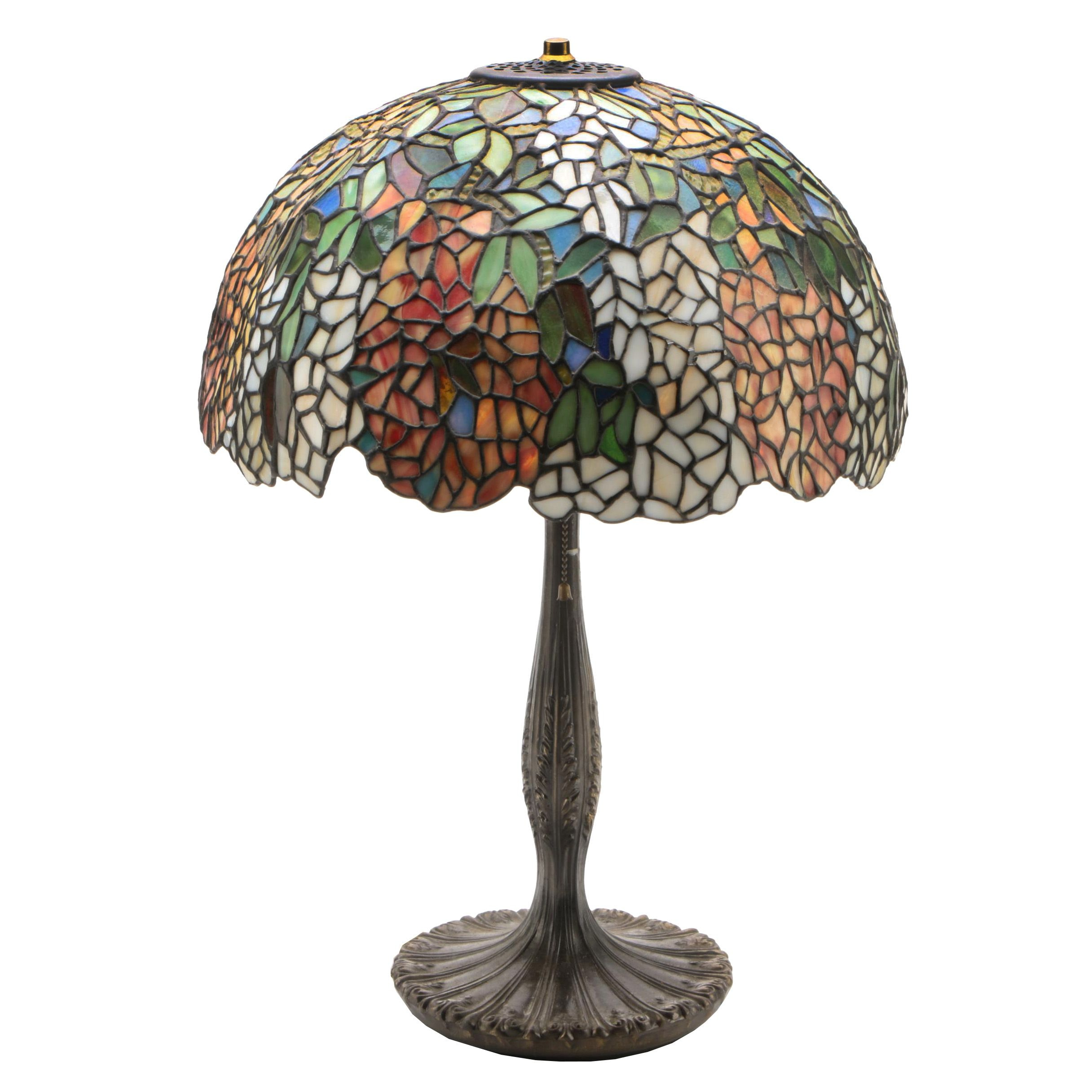Dale Tiffany Cast Metal Table Lamp with Slag and Stained Glass Shade