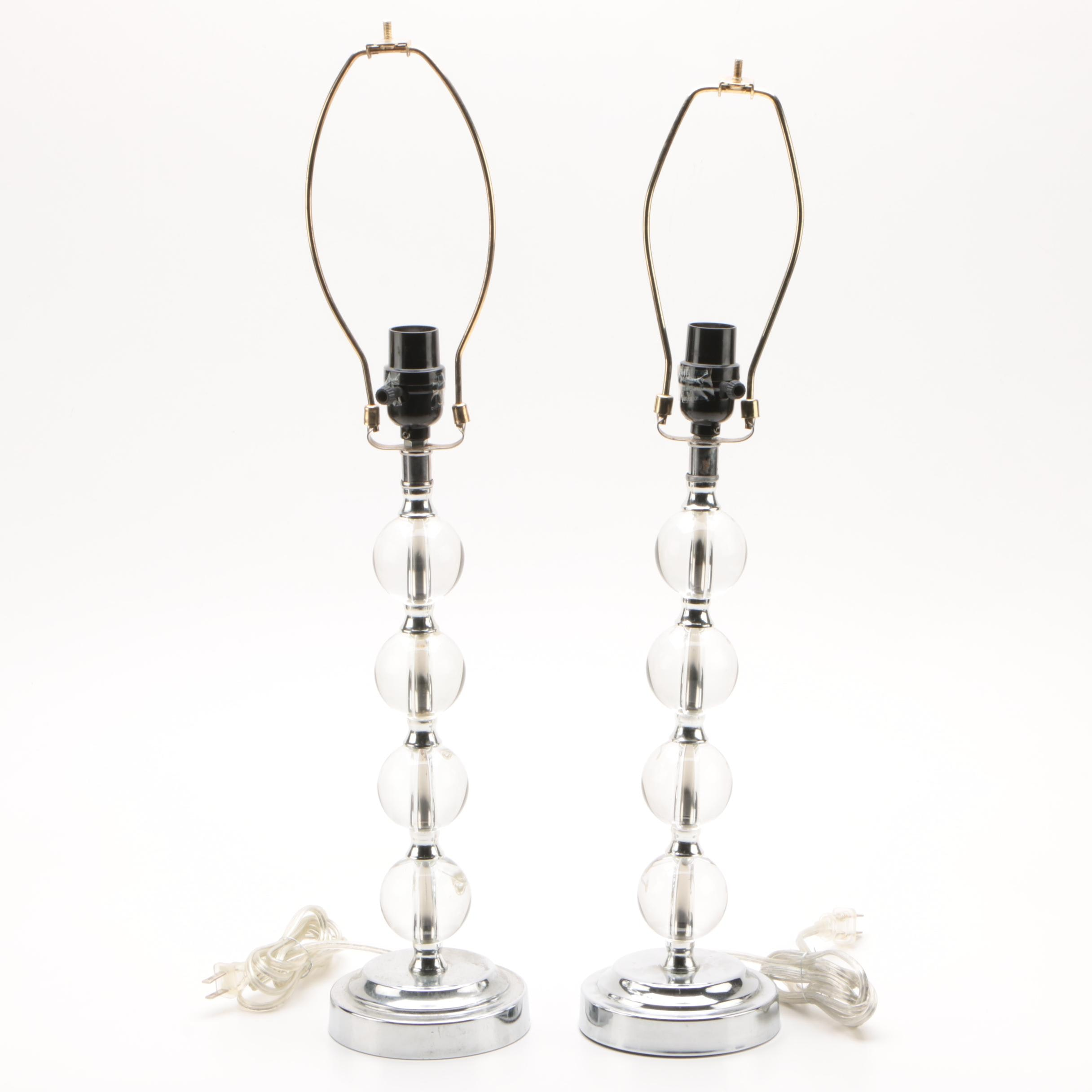 Acrylic And Chrome Finished Stacked Ball Table Lamps Ebth