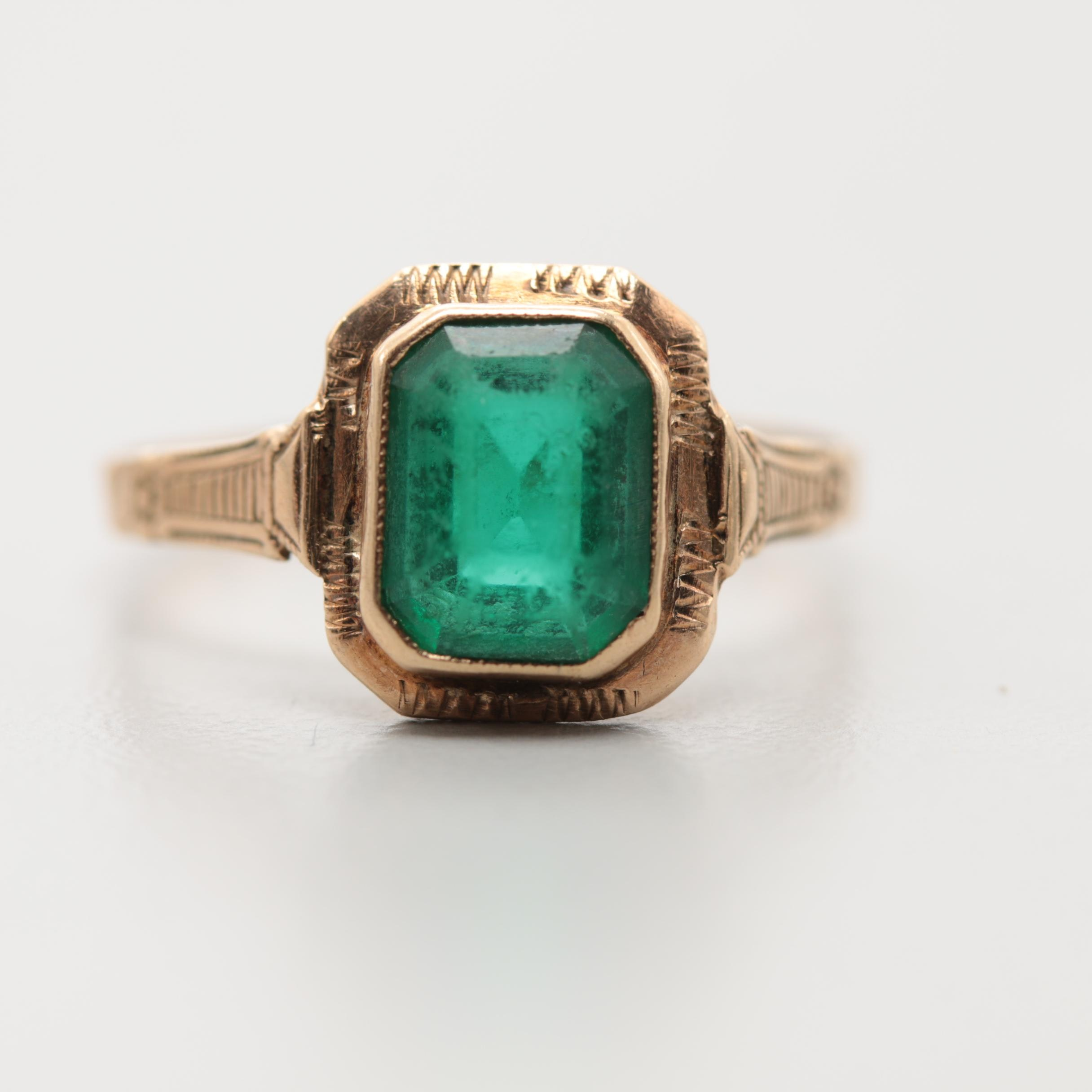 Victorian 14K Yellow Gold Glass Ring