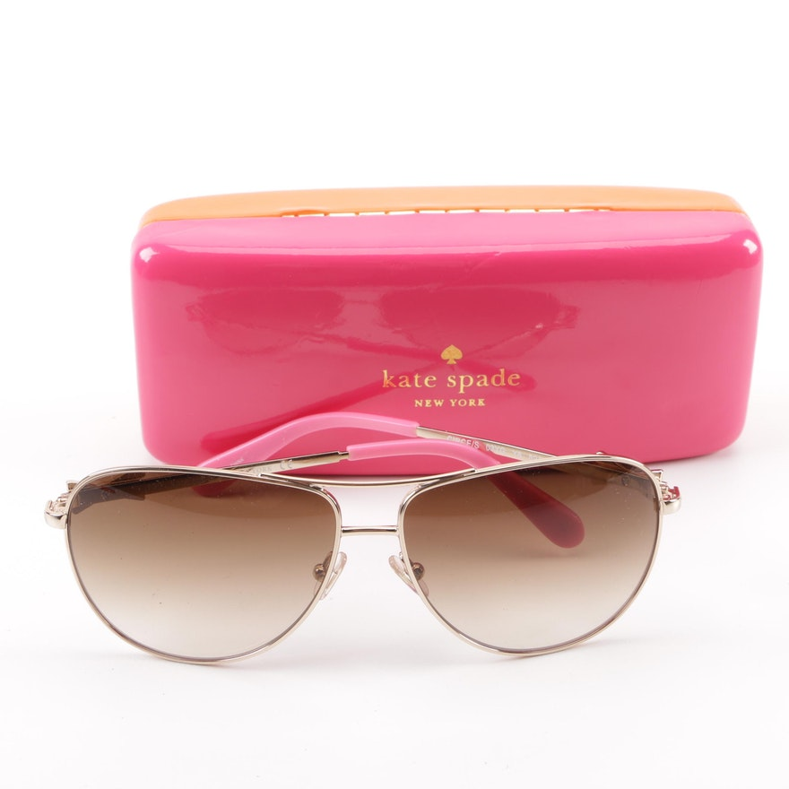 b0b3d9a4e60ad Kate Spade New York Circe Aviator Sunglasses with Case   EBTH