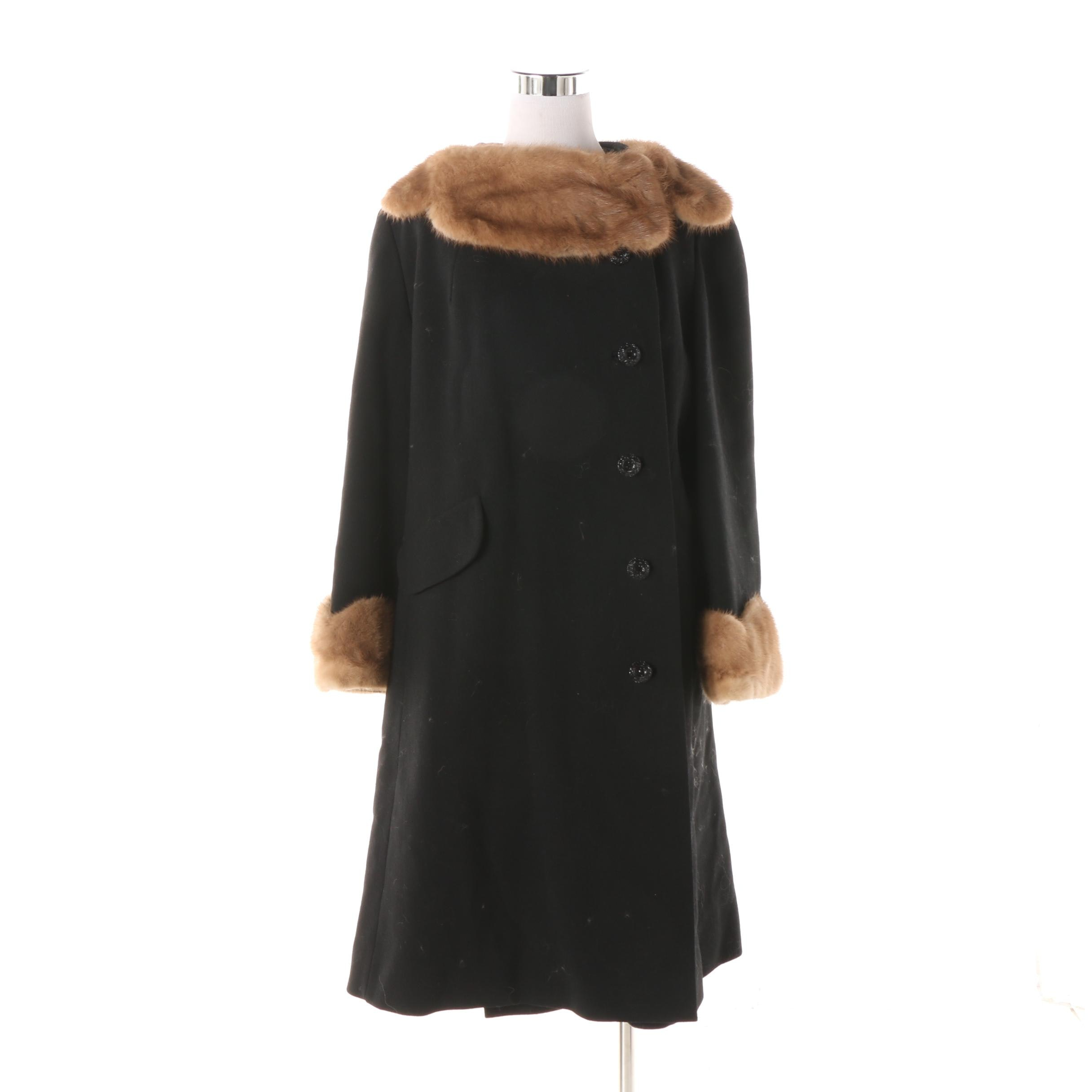1950s Vintage Black Wool Coat with Light Brown Mink Fur Collar and Cuffs