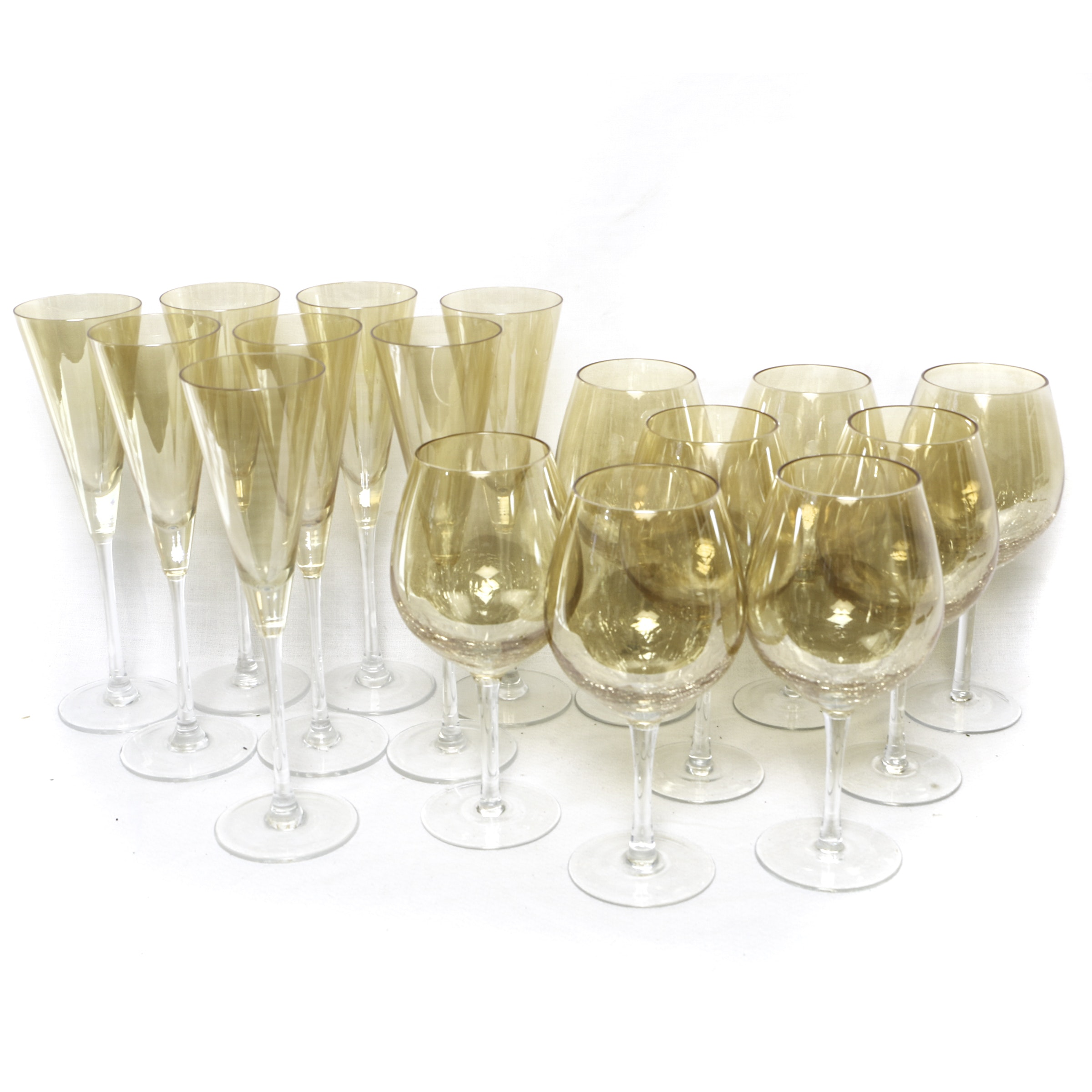 Amber Wine Glasses and Toasting Flutes