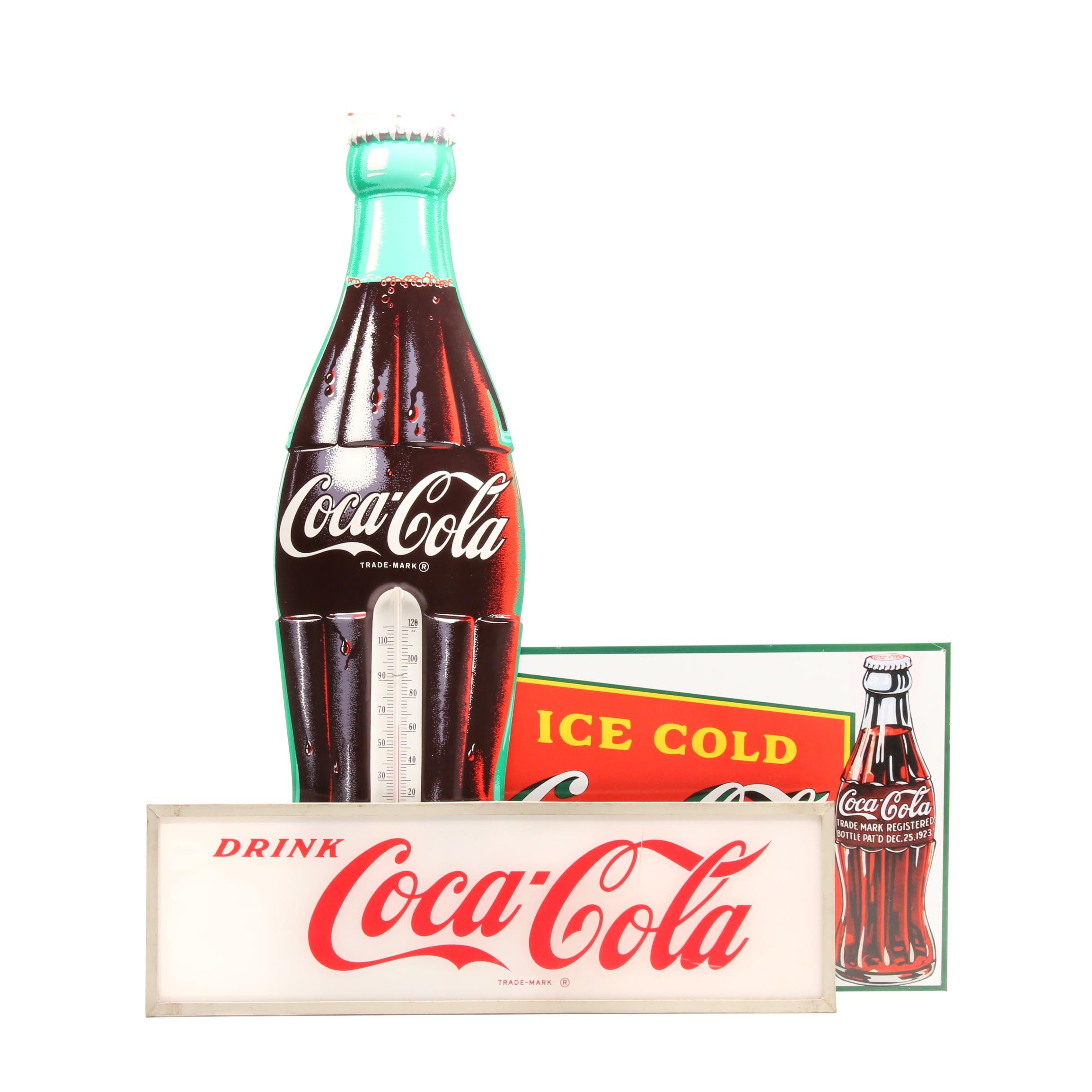 Metal and Reverse Printed Plexiglass Coca-Cola Signage with Thermometer
