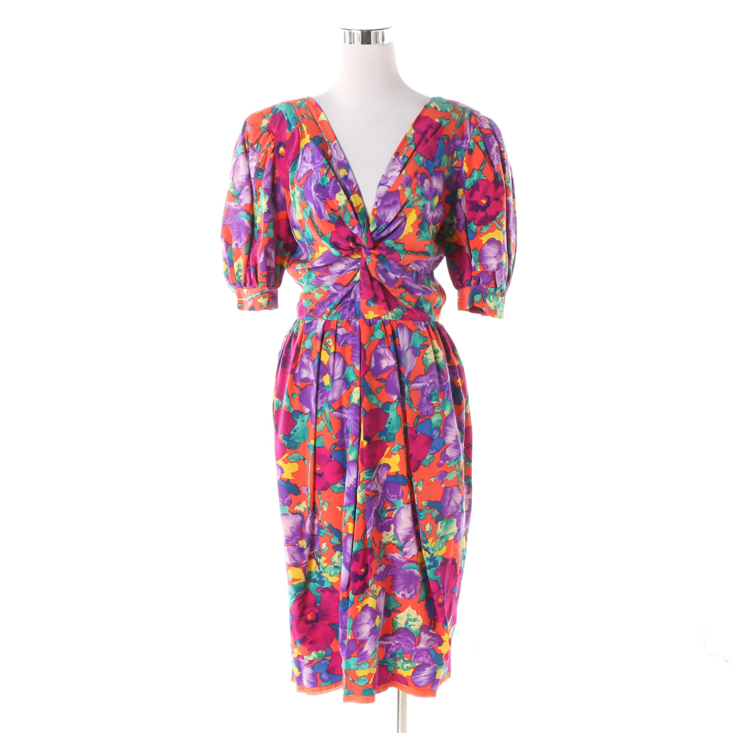 1980s Vintage Albert Nipon Multicolor Floral Silk Dress