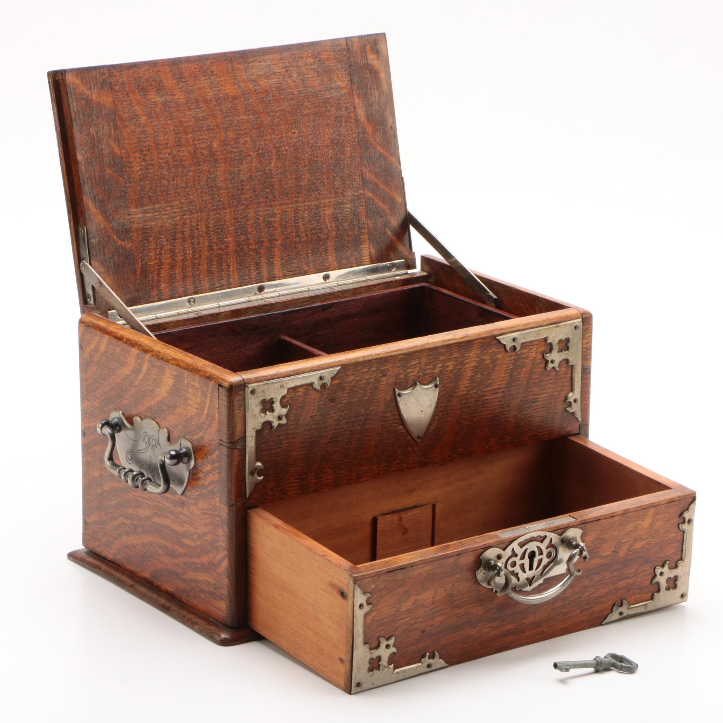 Victorian Style Oak and Metal Painter's Box, Early 20th Century
