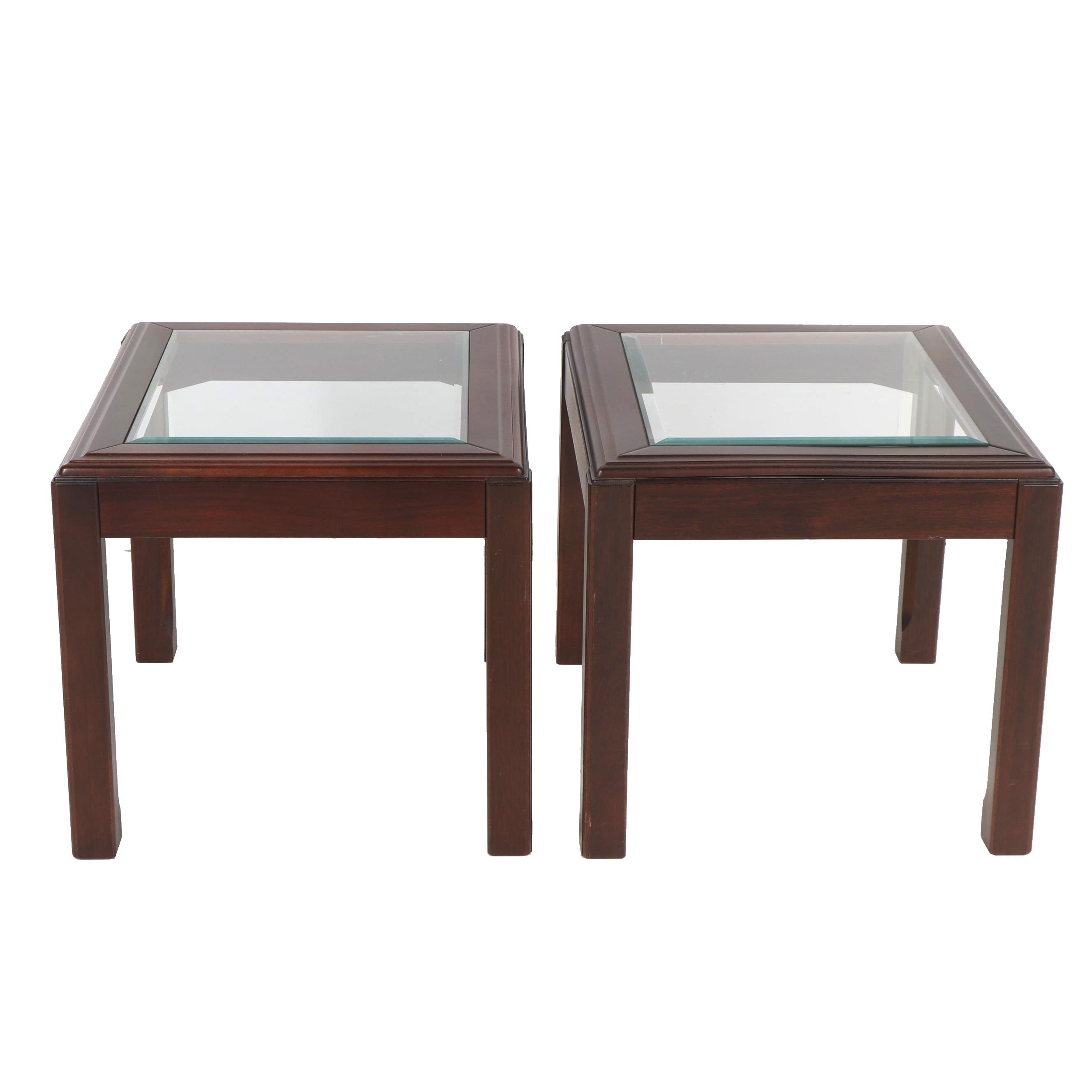 Stained Poplar and Glass Parsons Style End Tables, 21st Century