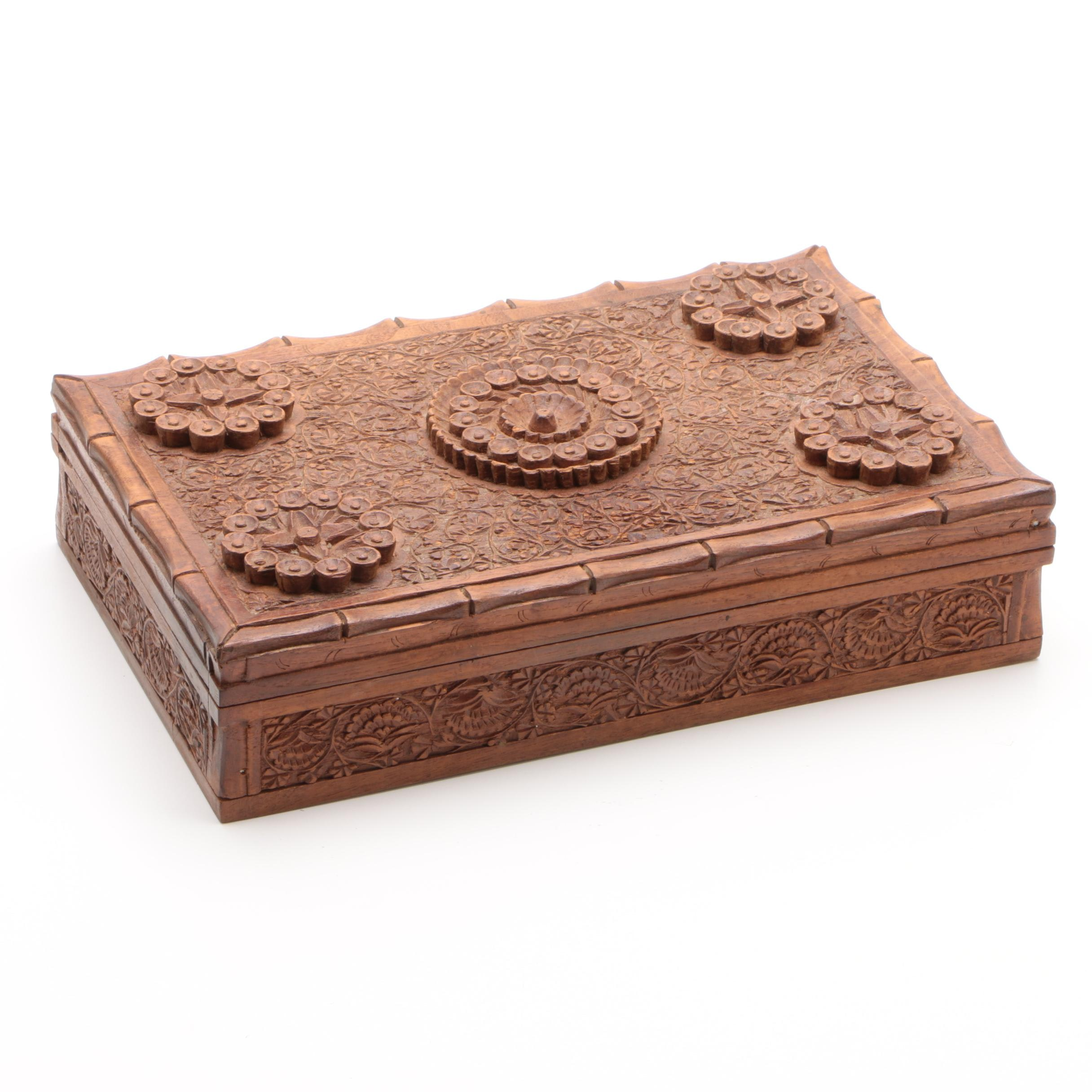 Indo-Persian Style Carved Teak Trinket Box, Late 20th Century