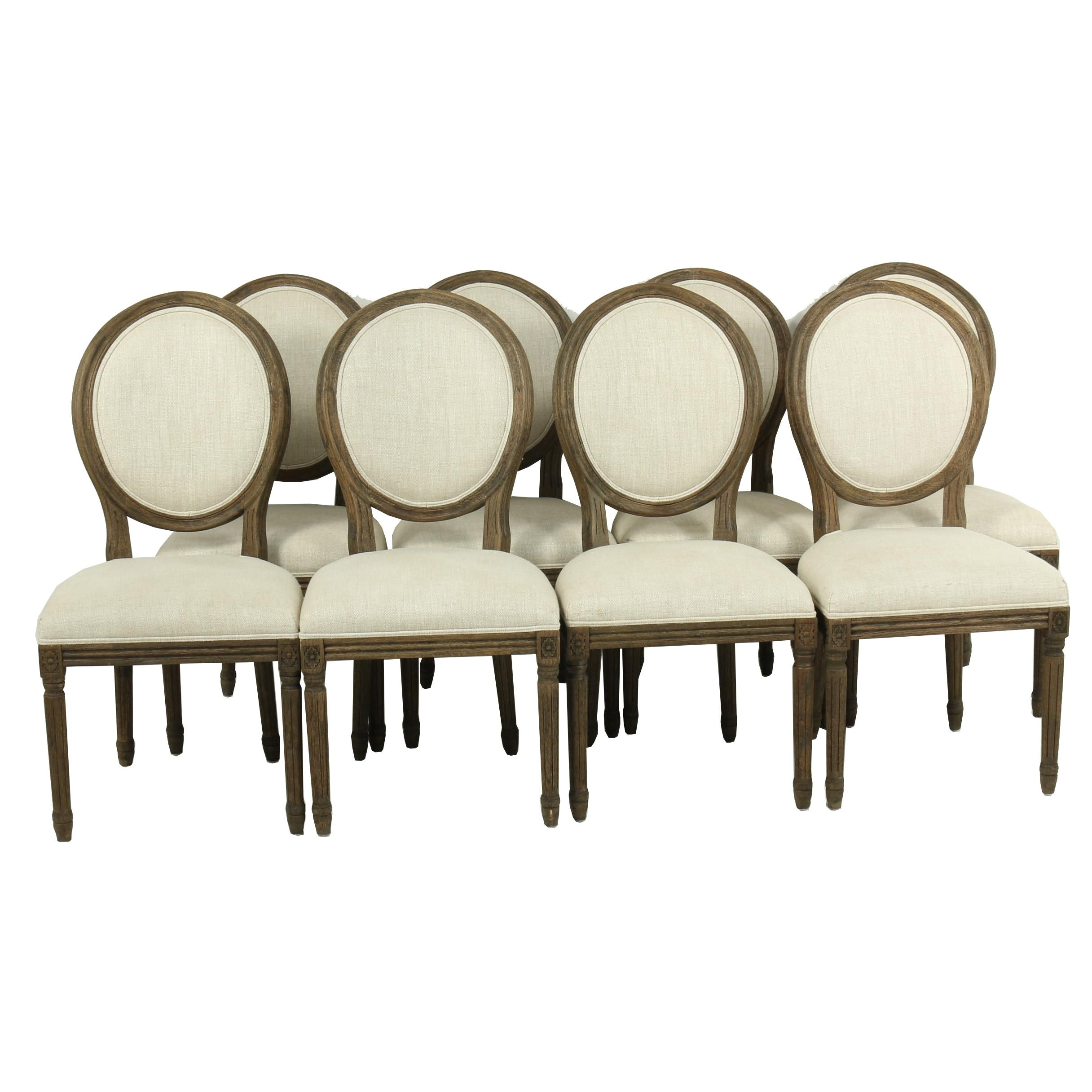 Louis XVI Style Balloon Back Dining Chairs by Restoration Hardware, 21st Century