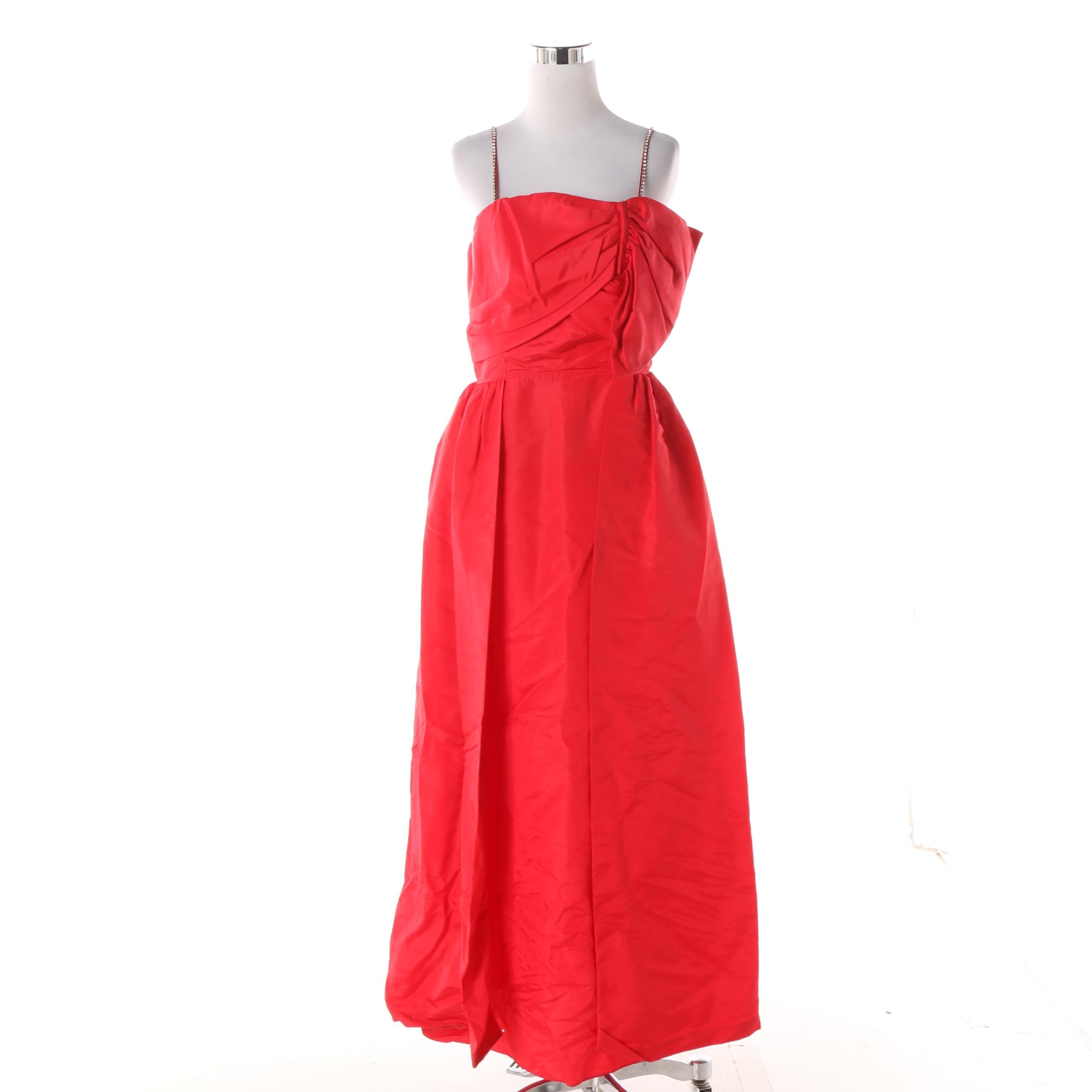 Vintage Red Ruched Sleeveless Evening Gown with Rhinestone Straps and Bow Detail