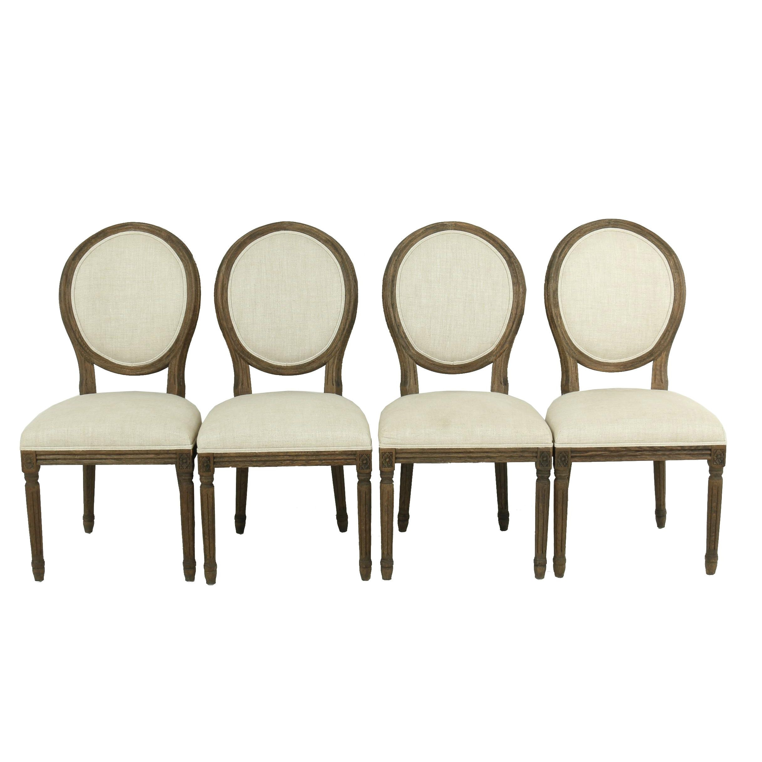 """Vintage French Round"" Balloon Back Oak Chairs by Restoration Hardware, 21st C"