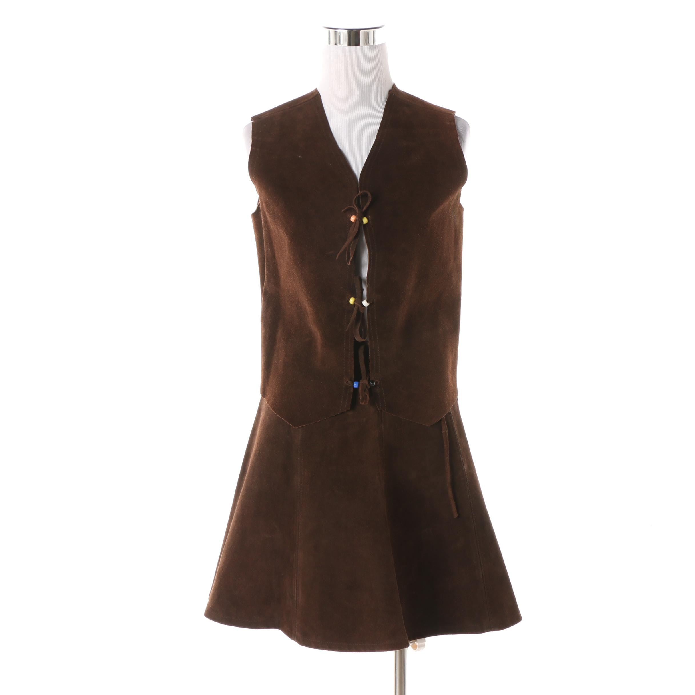 Women's 1970s Vintage Brown Suede Wrap Miniskirt and Vest with Tie Fastenings