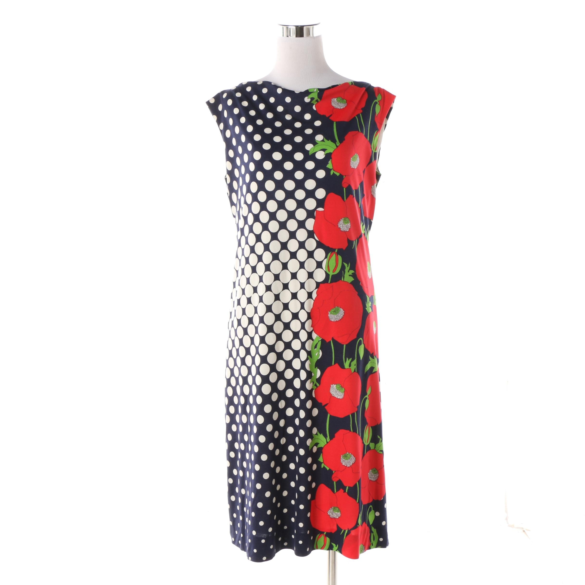 1960s Vintage Adele Simpson Floral Polka Dot Jersey Sheath Dress