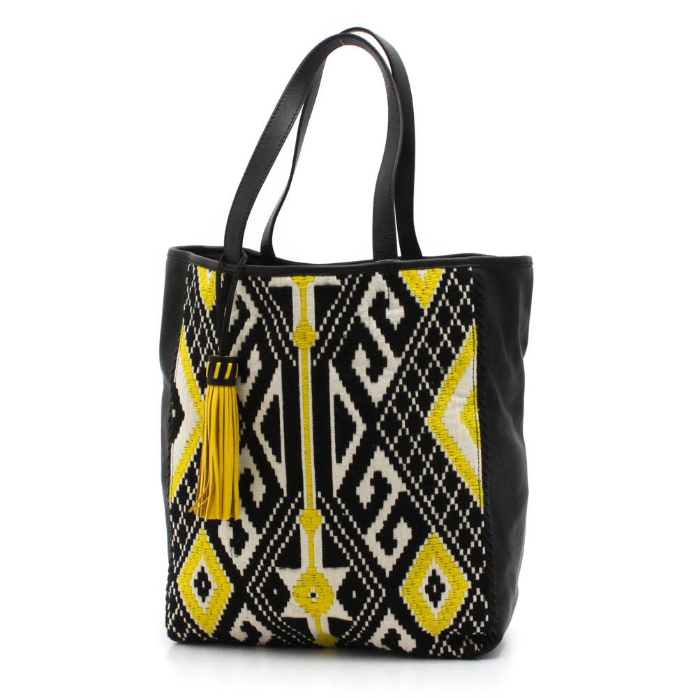 Rebecca Minkoff x FEED Leather and Woven Textile Tote
