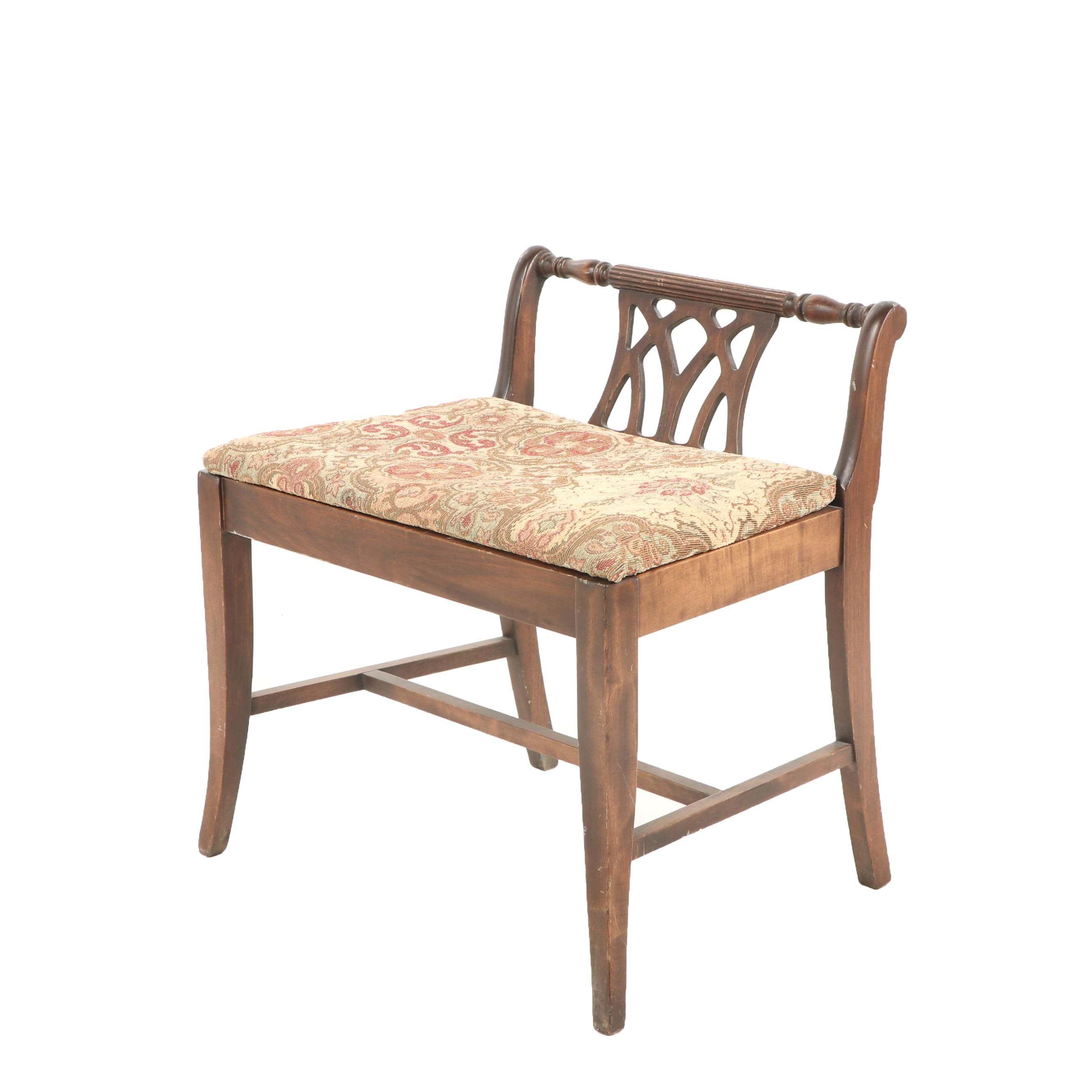 Federal Style Oak Vanity Bench, 20th Century
