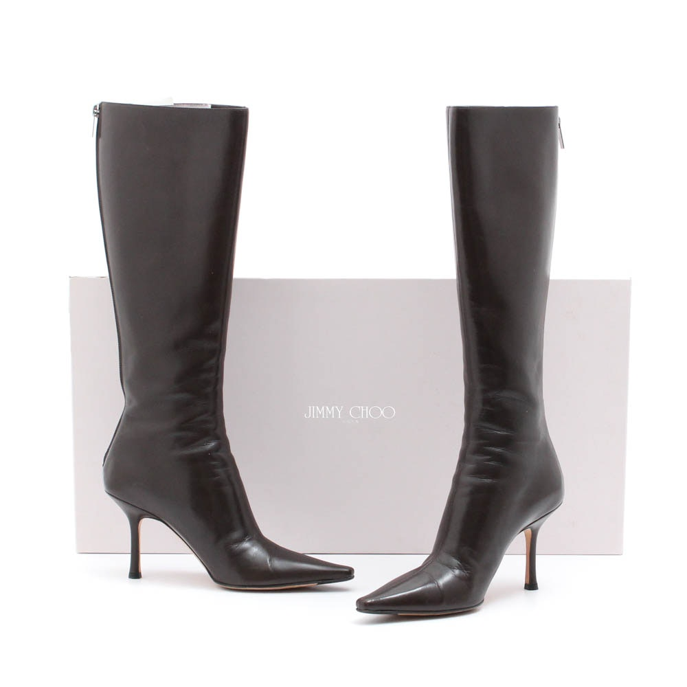 Jimmy Choo London Peony Coffee Kid Leather High-Heeled Tall Boots