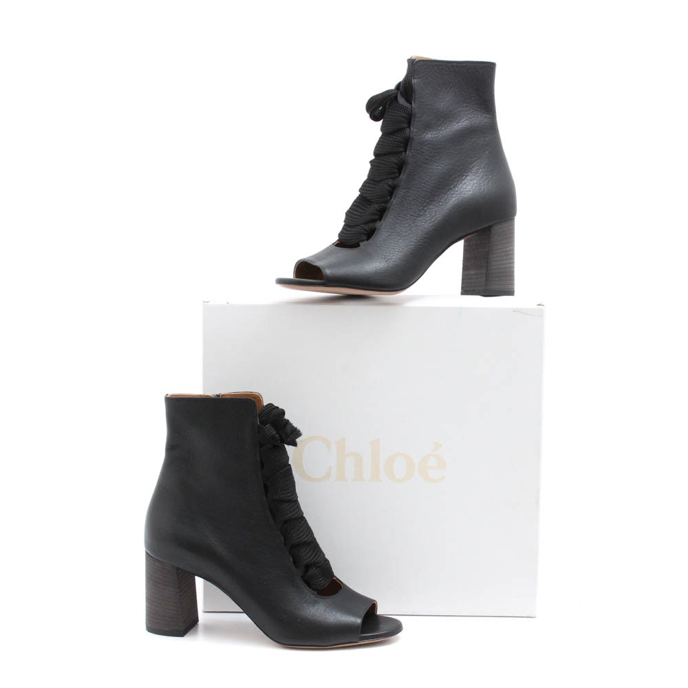 Chloé Harper Black Leather Open-Toe Lace-Up Ankle Boots