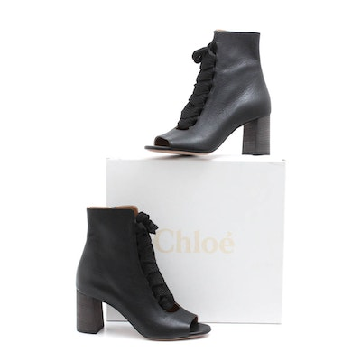 54a3e6565 Chloé Harper Black Leather Open-Toe Lace-Up Ankle Boots