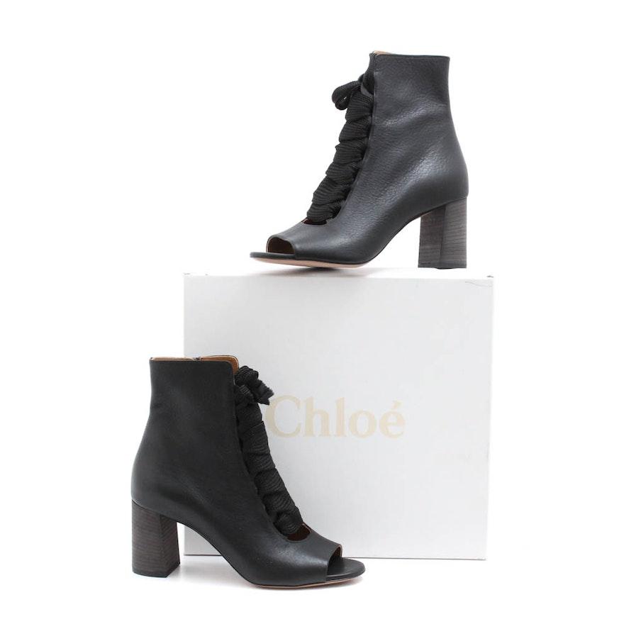 1d310b6e Chloé Harper Black Leather Open-Toe Lace-Up Ankle Boots