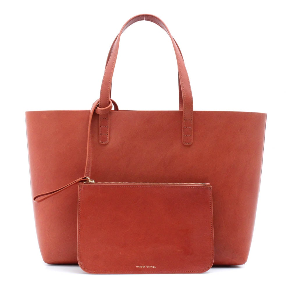 Mansur Gavriel Italian Cognac Leather Tote with Detachable Pochette