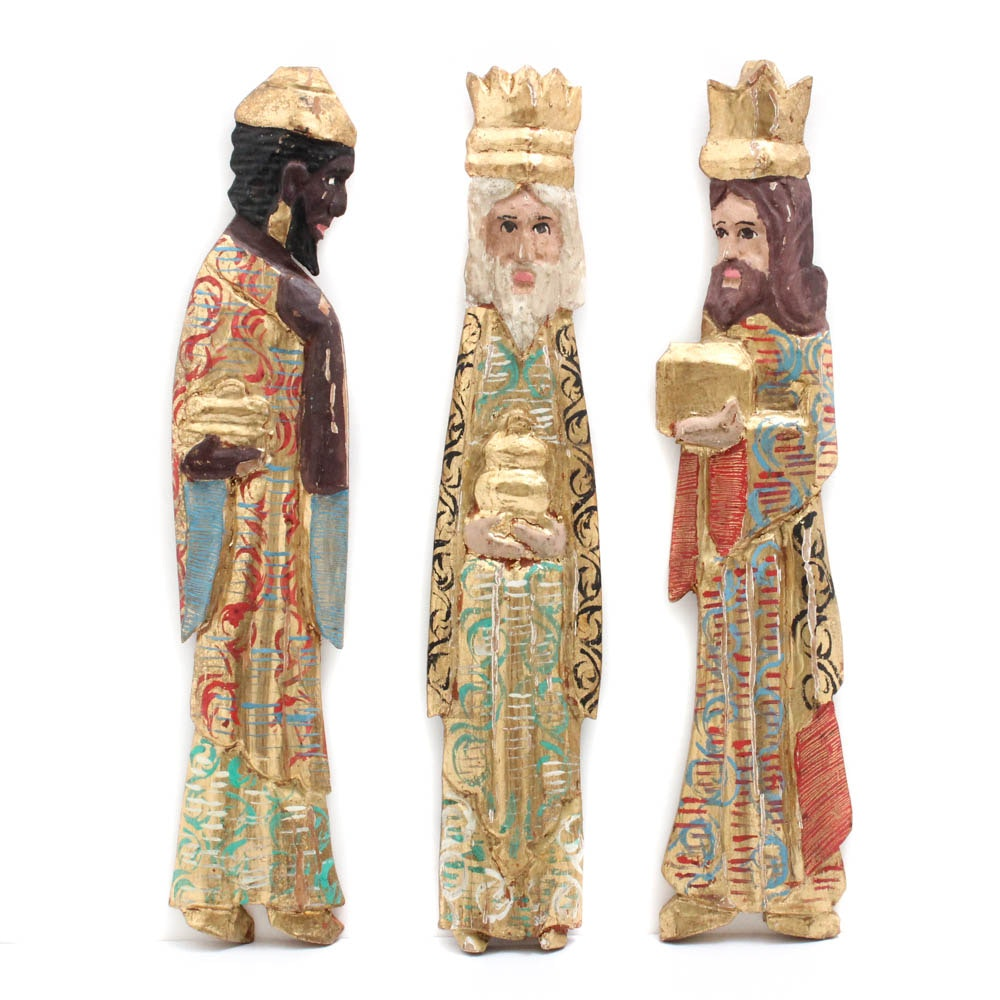 Italian Carved Wood and Gilt Wise Men Figures