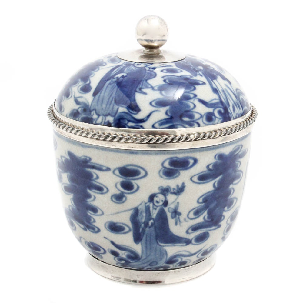 Sterling Silver Trimmed Blue and White Ceramic Pot with Lid
