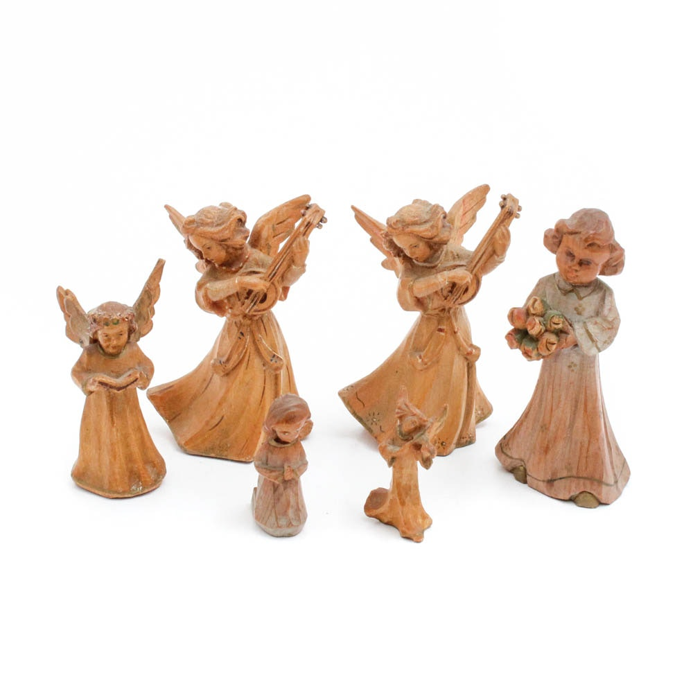 Six Anri Hand-Carved Wooden Angels