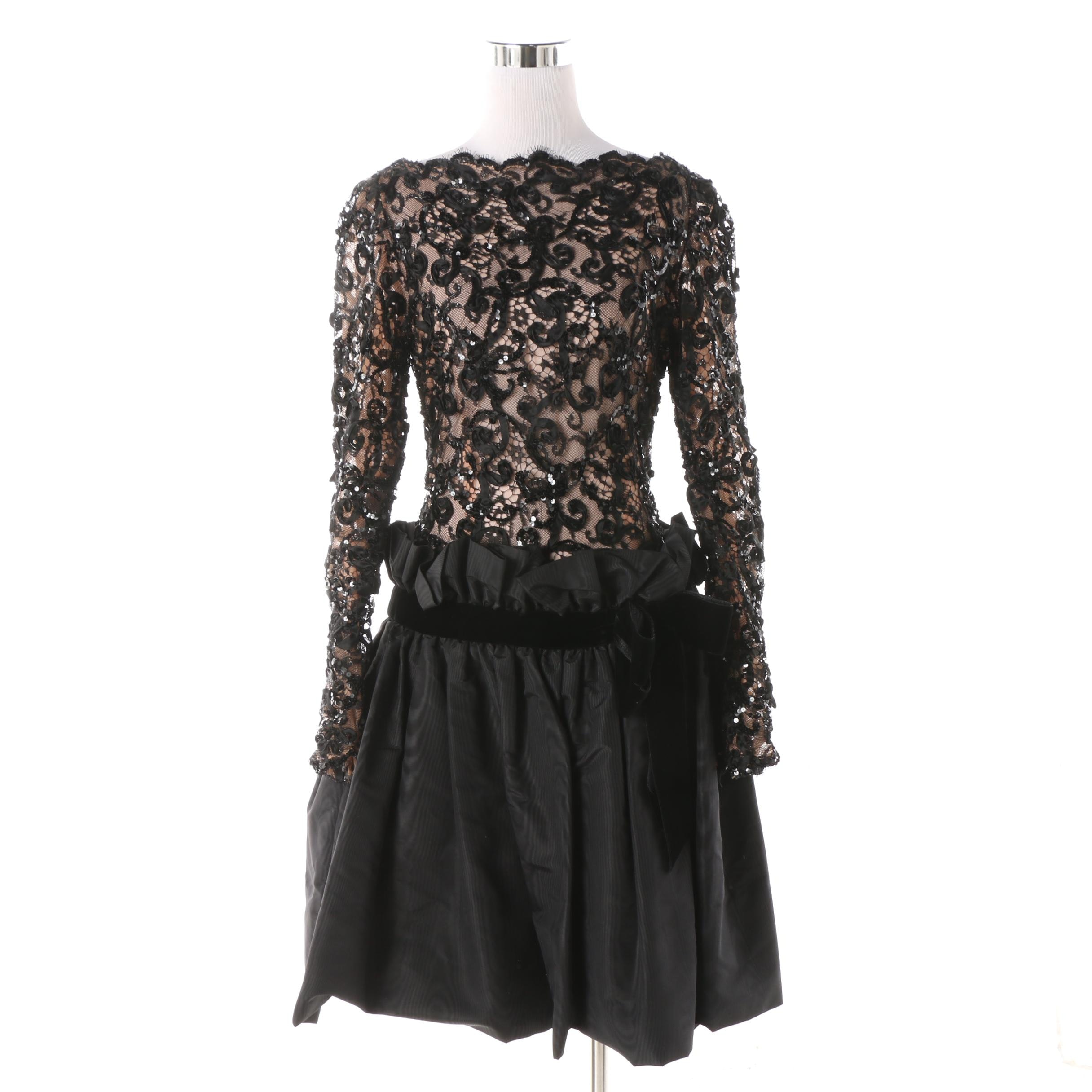 1980s Bob Mackie Black Lace and Sequin Cocktail Dress with Velvet Bow Detail