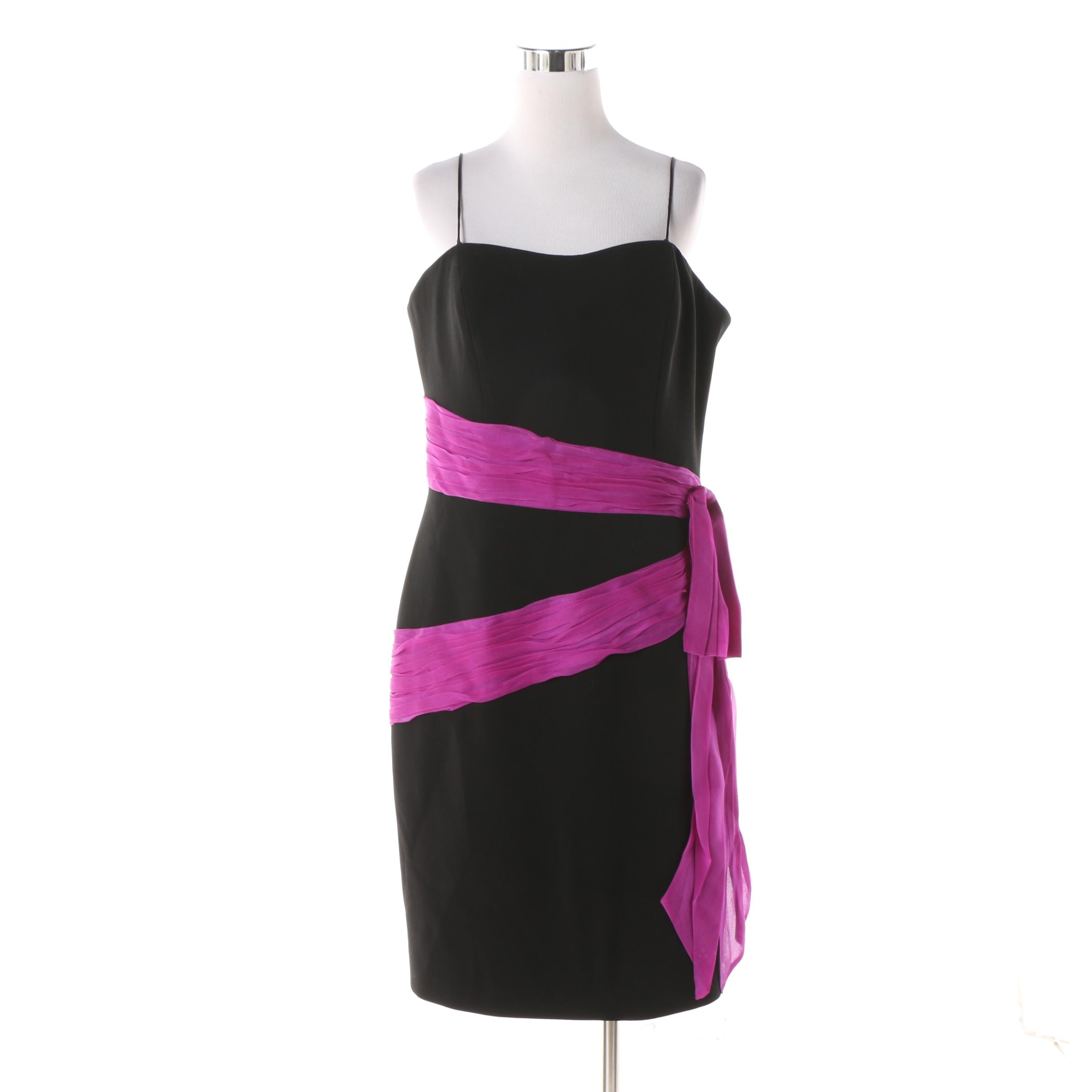 Theia Black and Magenta Sash Silk Sleeveless Cocktail Dress