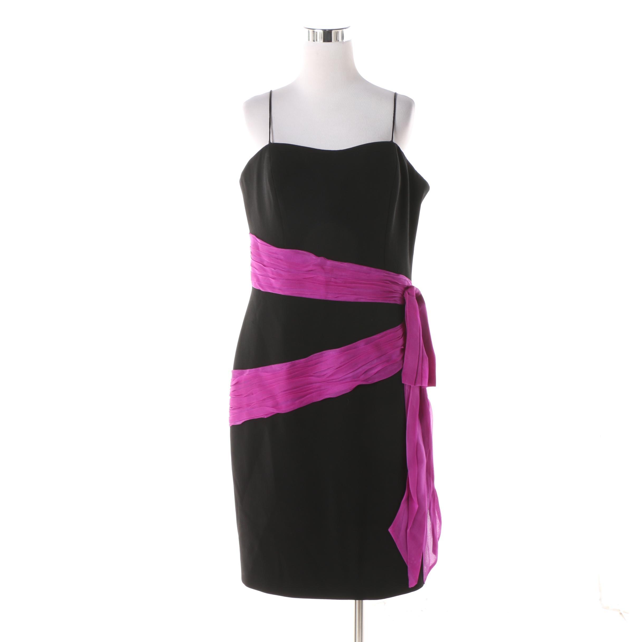Theia Black and Magenta Sash Silk Sleeveless Cocktail Dress