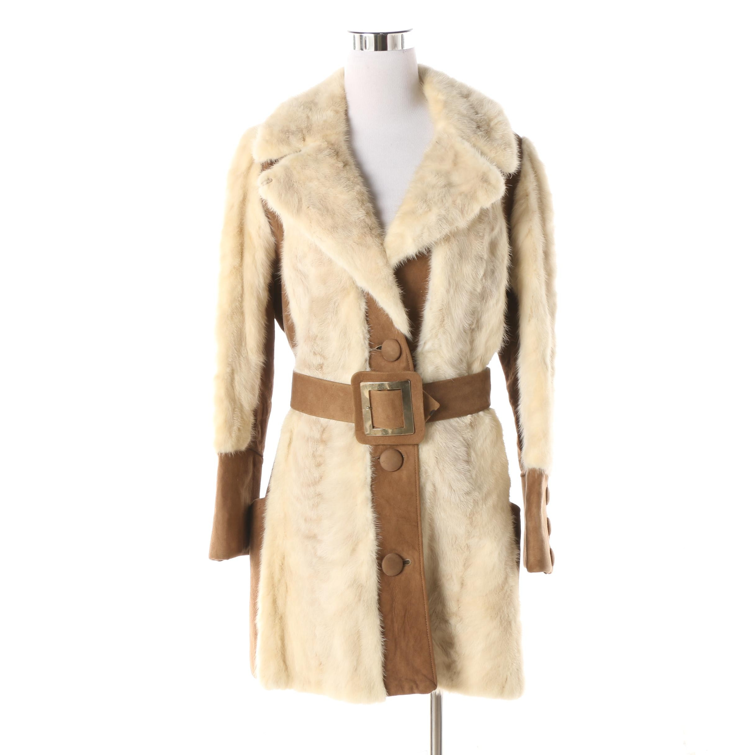 1970s Ermine Fur and Suede Leather Coat with Scallop Cuff and Pocket Detail