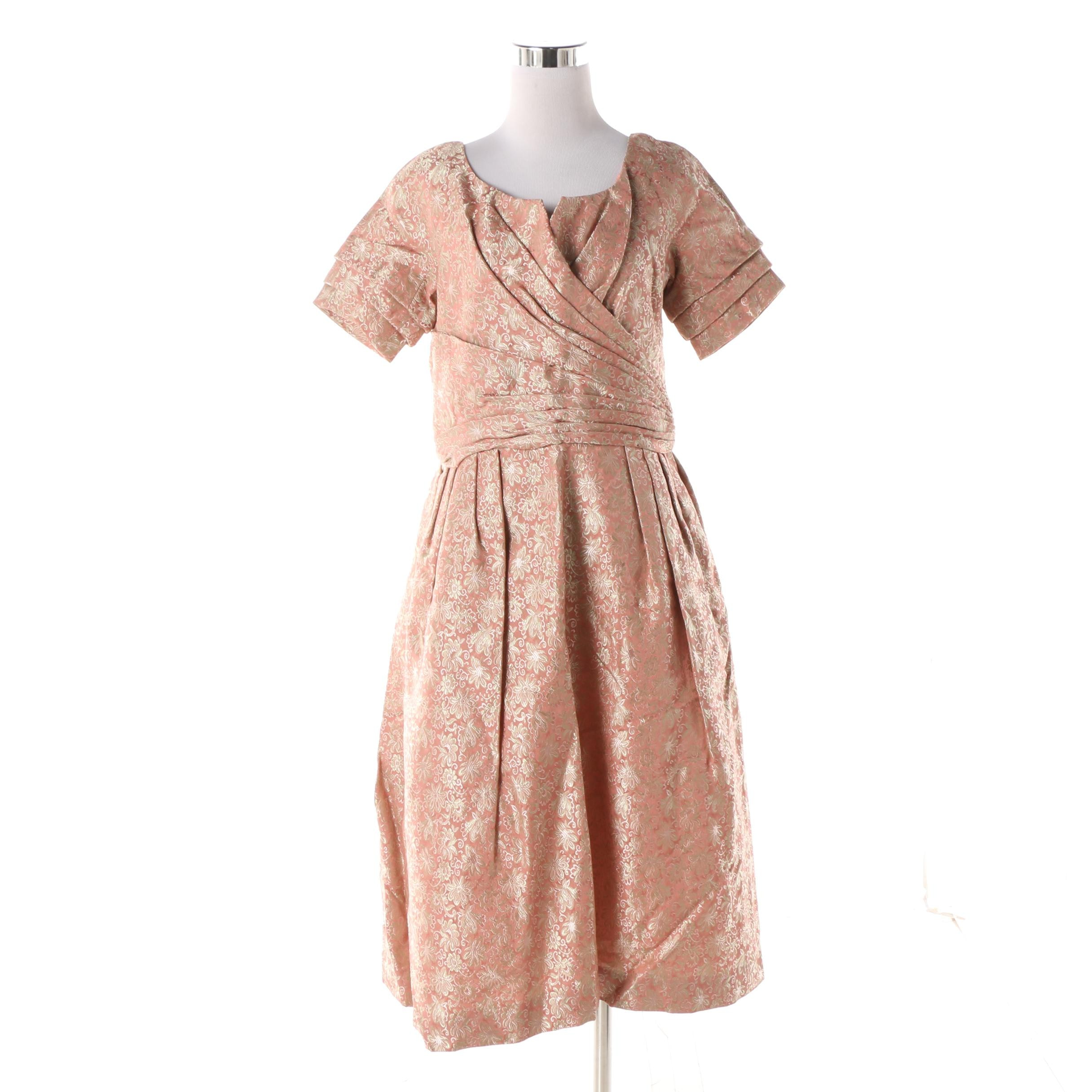 1950s Floral Satin Brocade Cocktail Dress in Pink with Gold