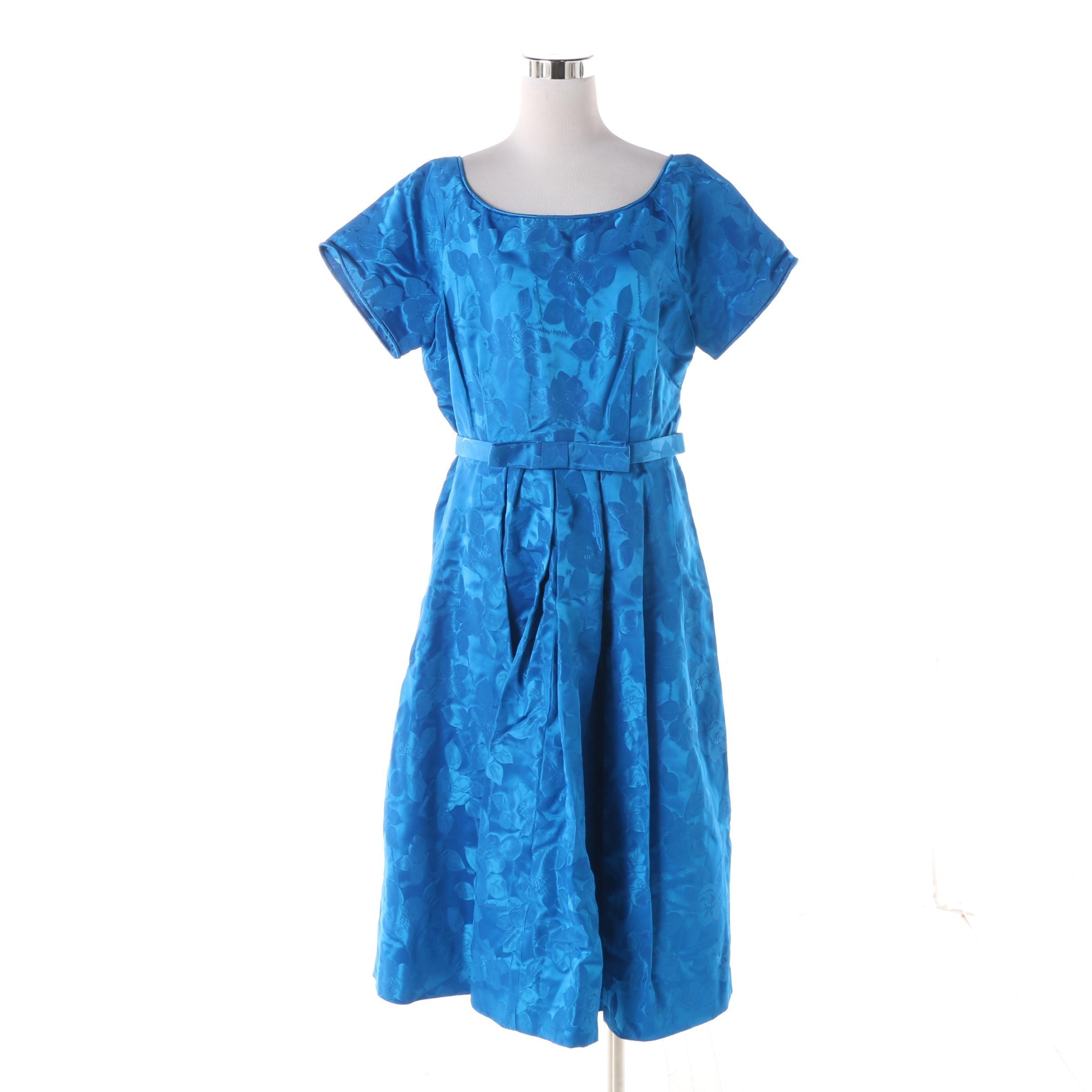 1950s Vintage Blue Floral Satin Brocade Occasion Dress