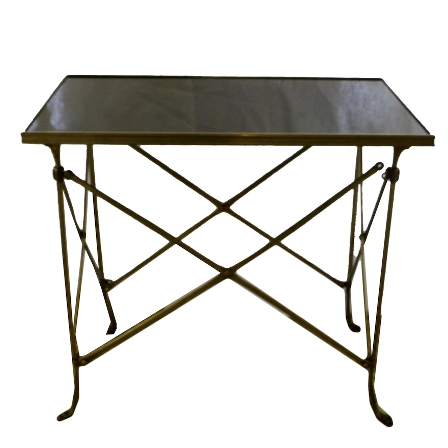 Neoclassical Style Metal and Stone Accent Table, 21st Century