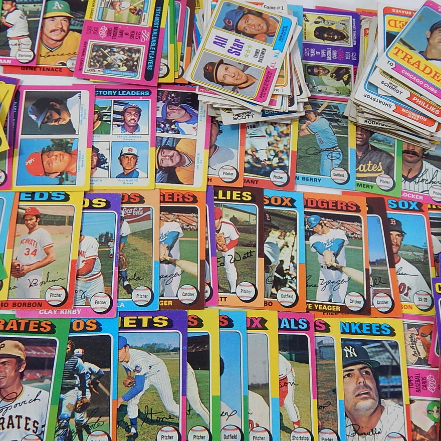 1974 1975 Topps Baseball Card Lot With Hank Aaron Mike Schmidt Santo