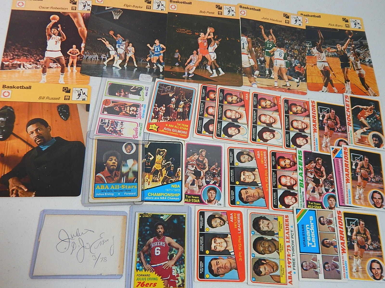 Vintage Star Basketball Card Collection with J. Erving Cut Signature