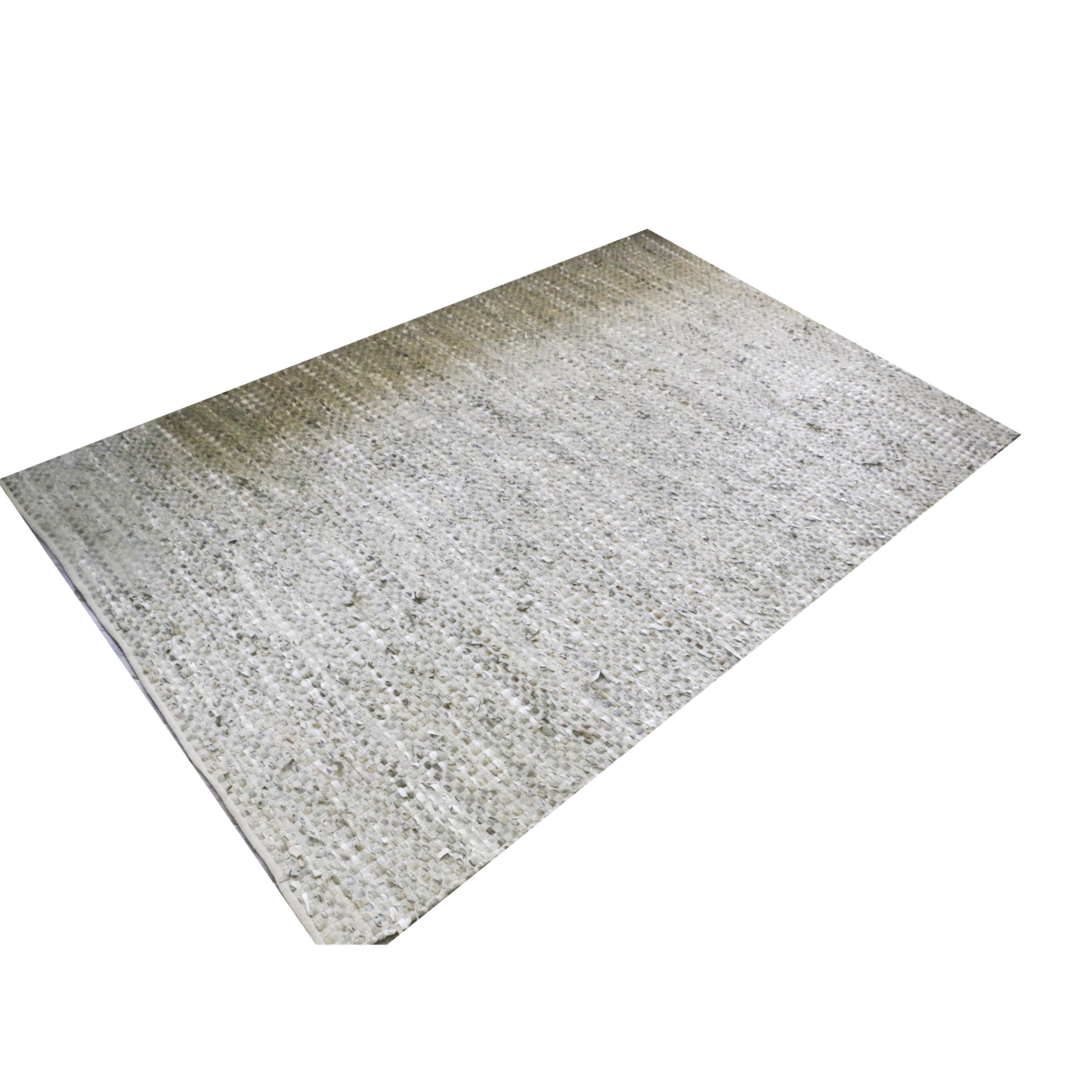 Handwoven Textured Leather and Cotton Rug